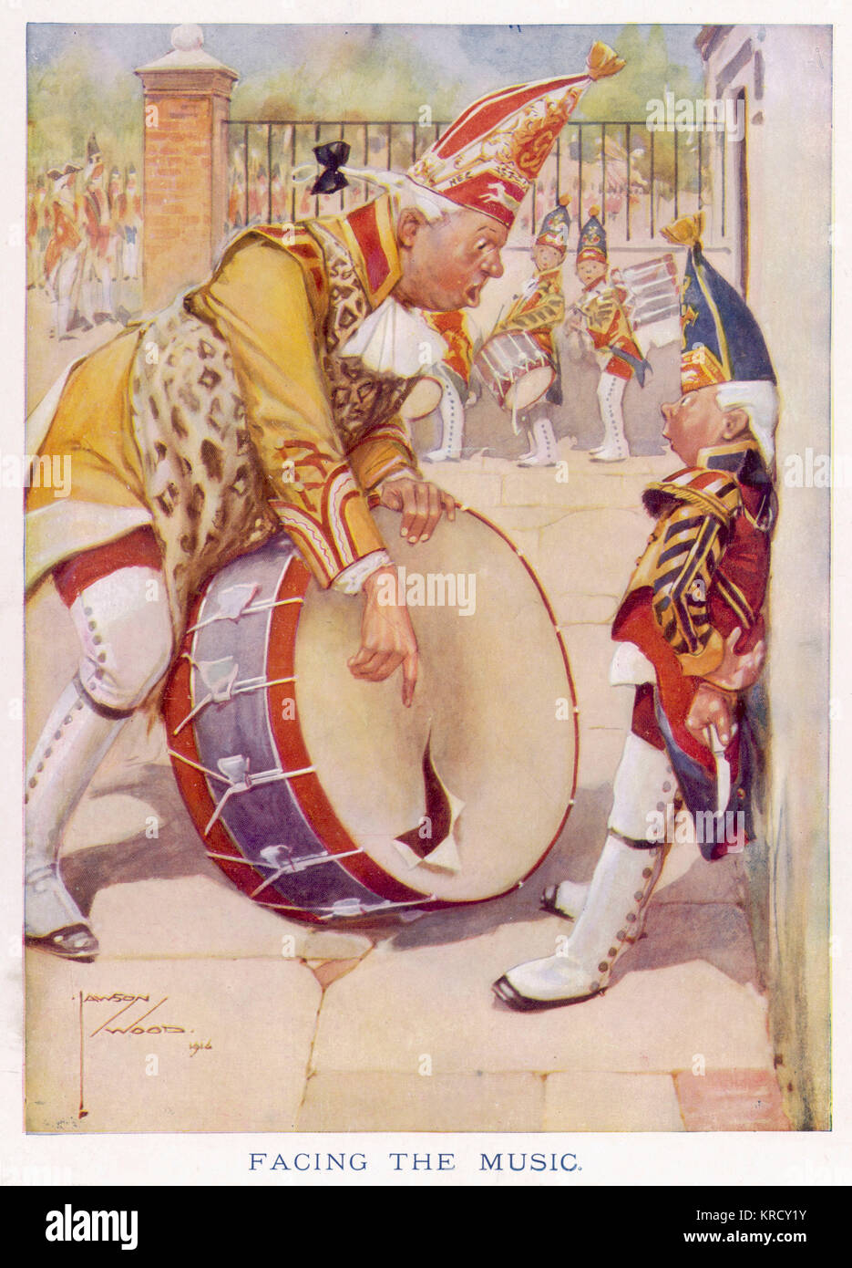 A burly drummer with a bad  temper finds that someone has  tampered with his drum.  He  has words with a small  - Stock Image