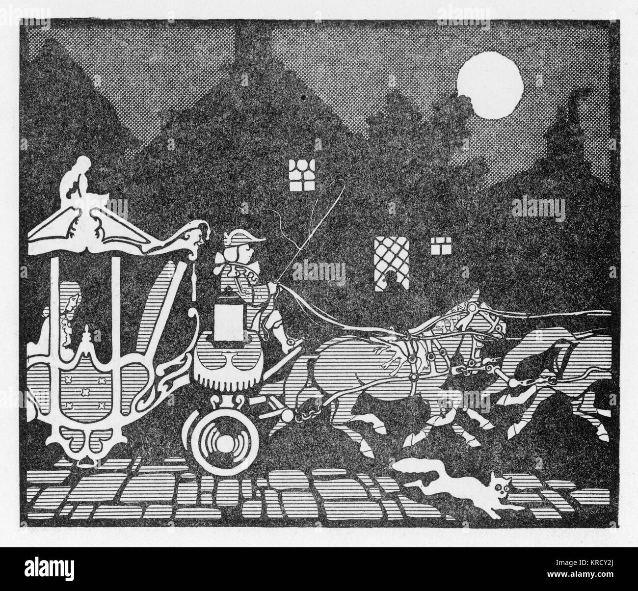 Cinderella is whisked of to  the ball in style in her  magical carriage, complete  with footmen, courtesy of her - Stock Image