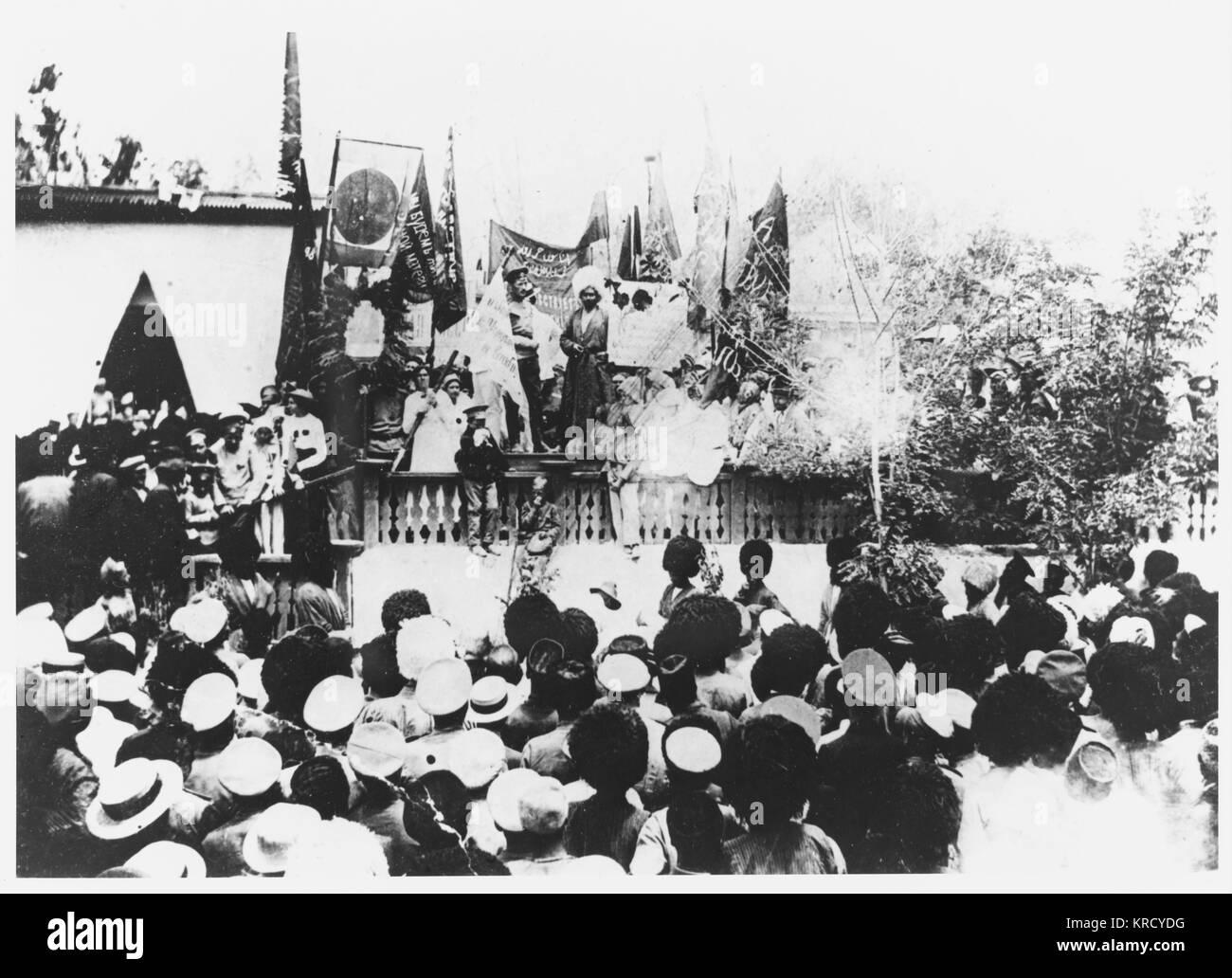 The residents of Turkmenia  demonstrate in favour of the  Bolshevik revolution.        Date: September 1917 - Stock Image