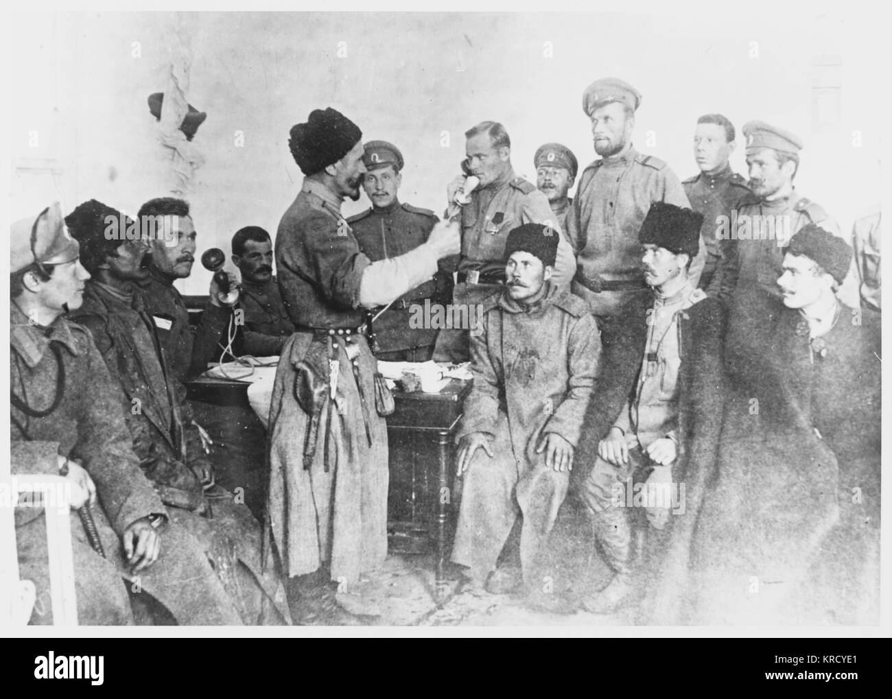 Defeated by government forces,  supporters of Kornilov's coup  negotiate a surrender.        Date: August 1917 - Stock Image