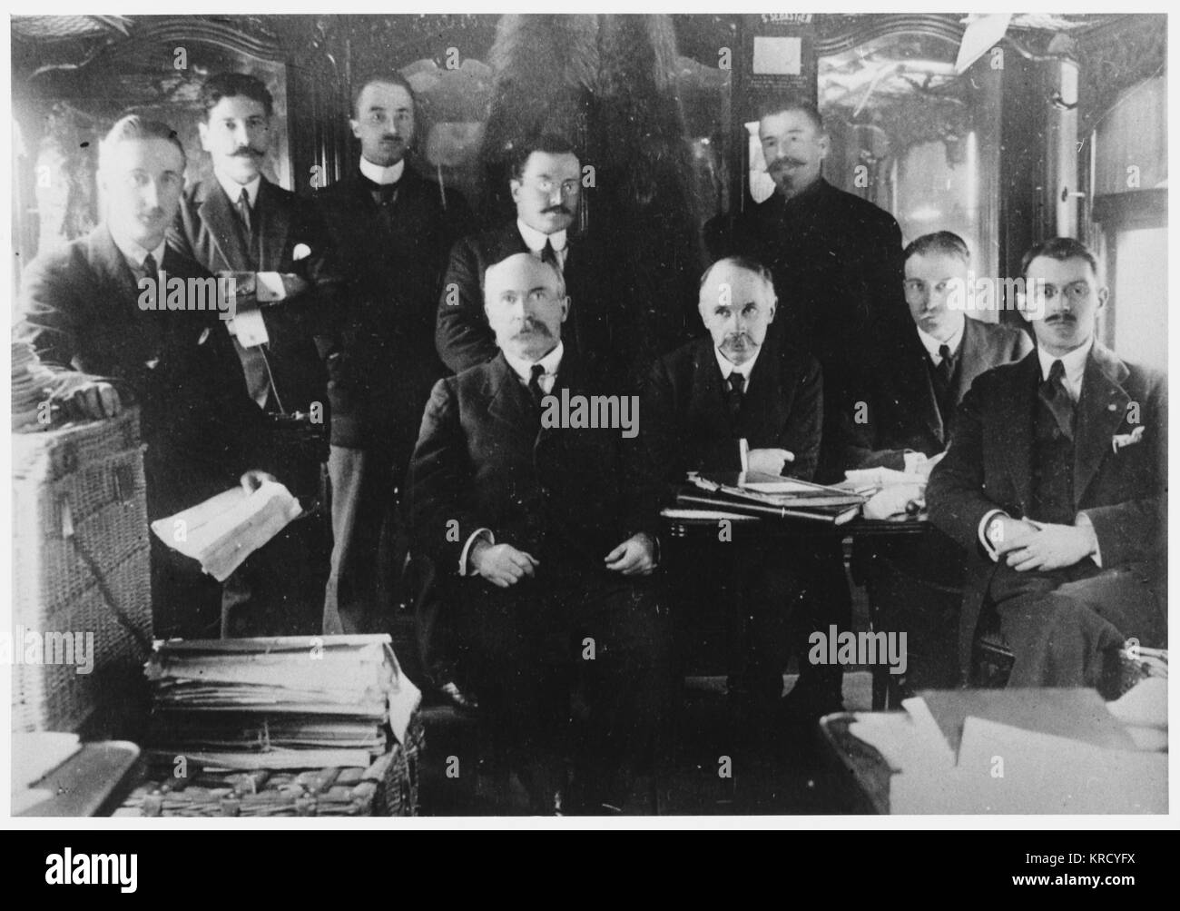 French embassy staff prudently  assemble in a railway carriage  for greater security ...        Date: 1918 - Stock Image