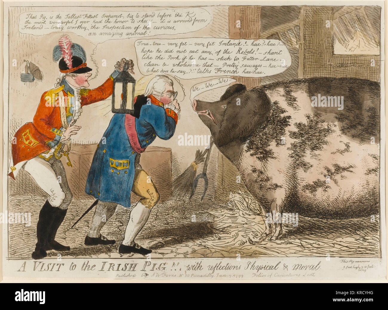 Satirical cartoon, A Visit to the Irish Pig!  With reflections Physical & Moral.  King George III, accompanied - Stock Image