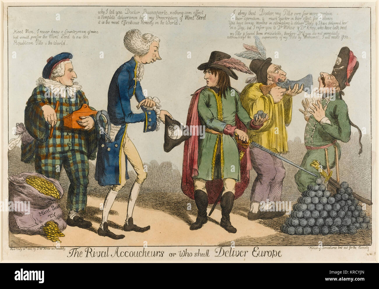 Satirical cartoon, The Rival Accoucheurs or who shall deliver Europe.  A satire on Pitt's policy of subsidising - Stock Image