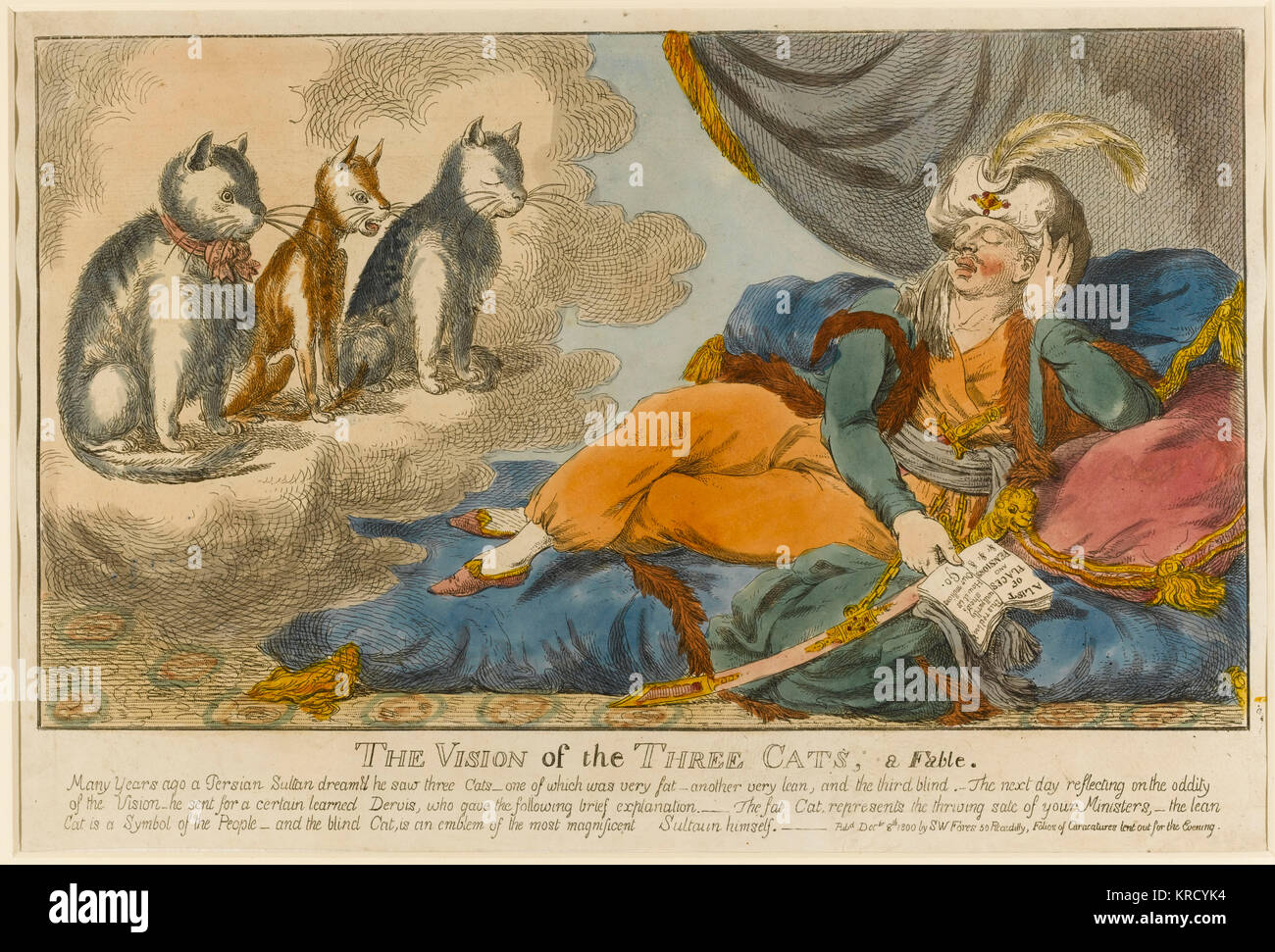 Satirical cartoon, The Vision of the three Cats, a Fable. In a dream a Persian sultan (King George III) has an apparition - Stock Image