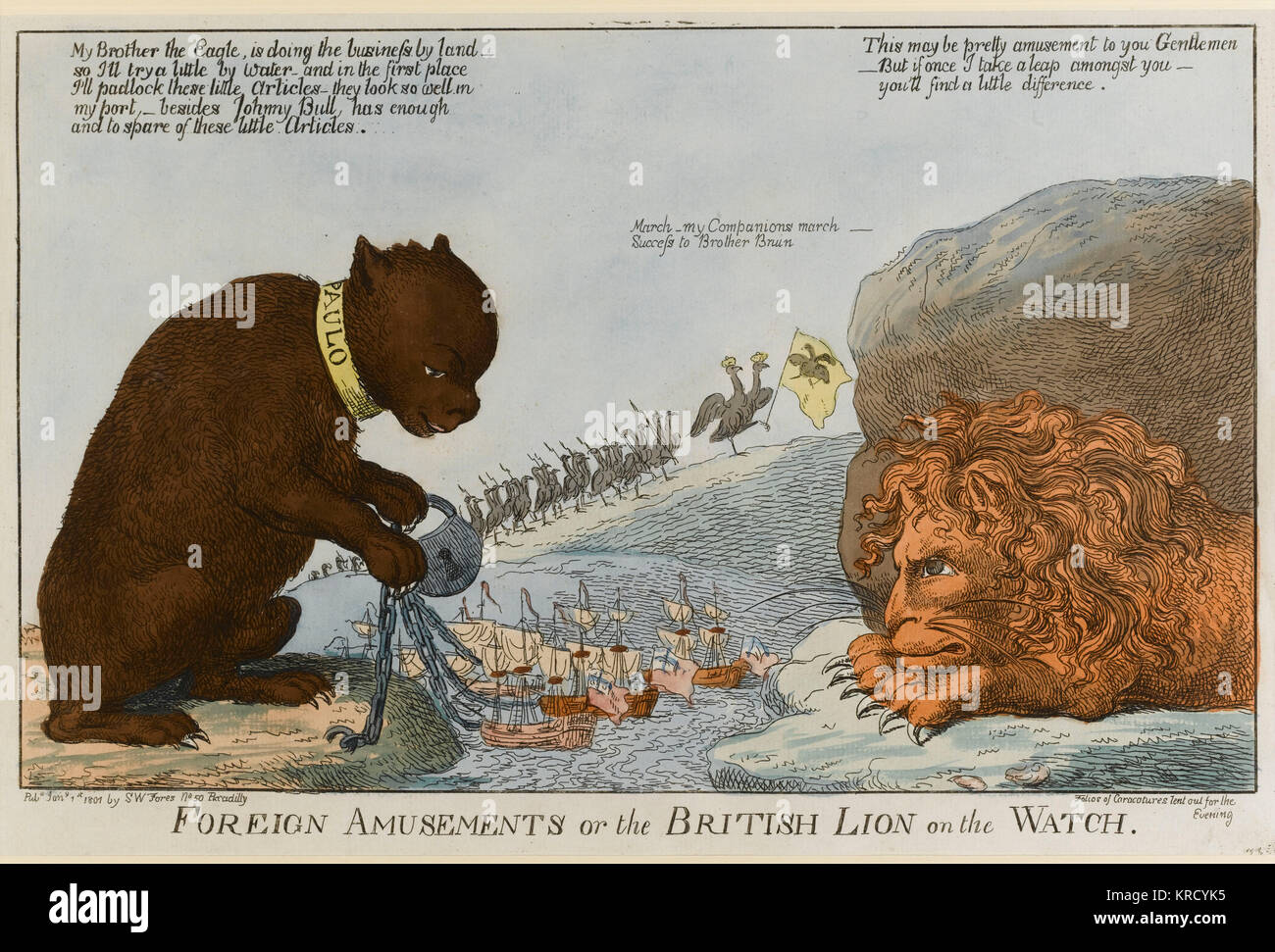 Satirical cartoon, Foreign Amusements or the British Lion on the Watch.  A giant lion glares at a giant bear (Tsar - Stock Image