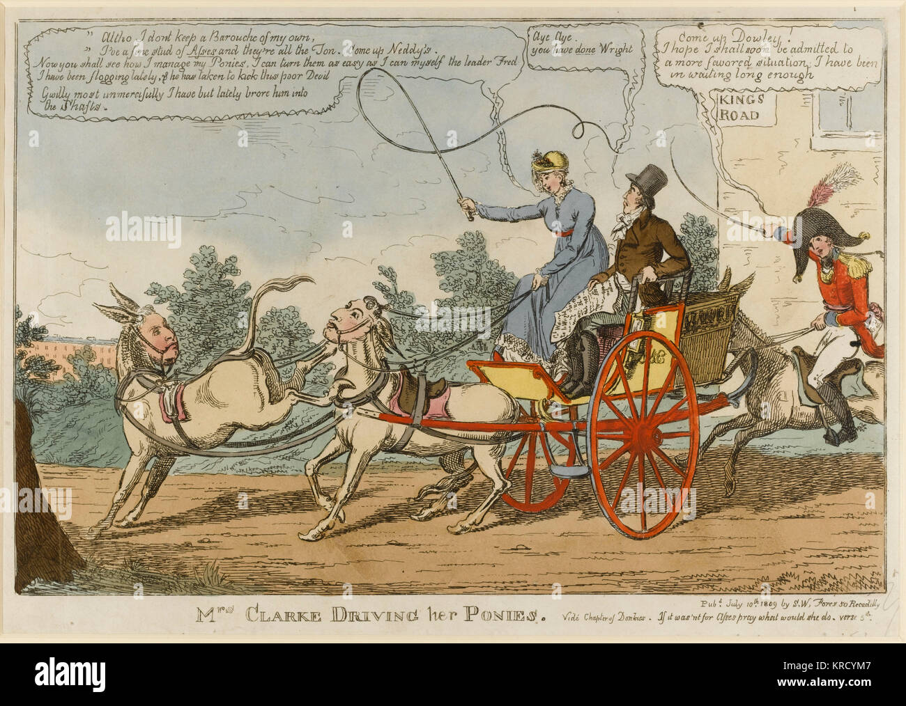 Satirical cartoon, Mrs Clarke Driving her Ponies.  Mary Anne Clarke, the Duke of York's mistress, drives a carriage - Stock Image