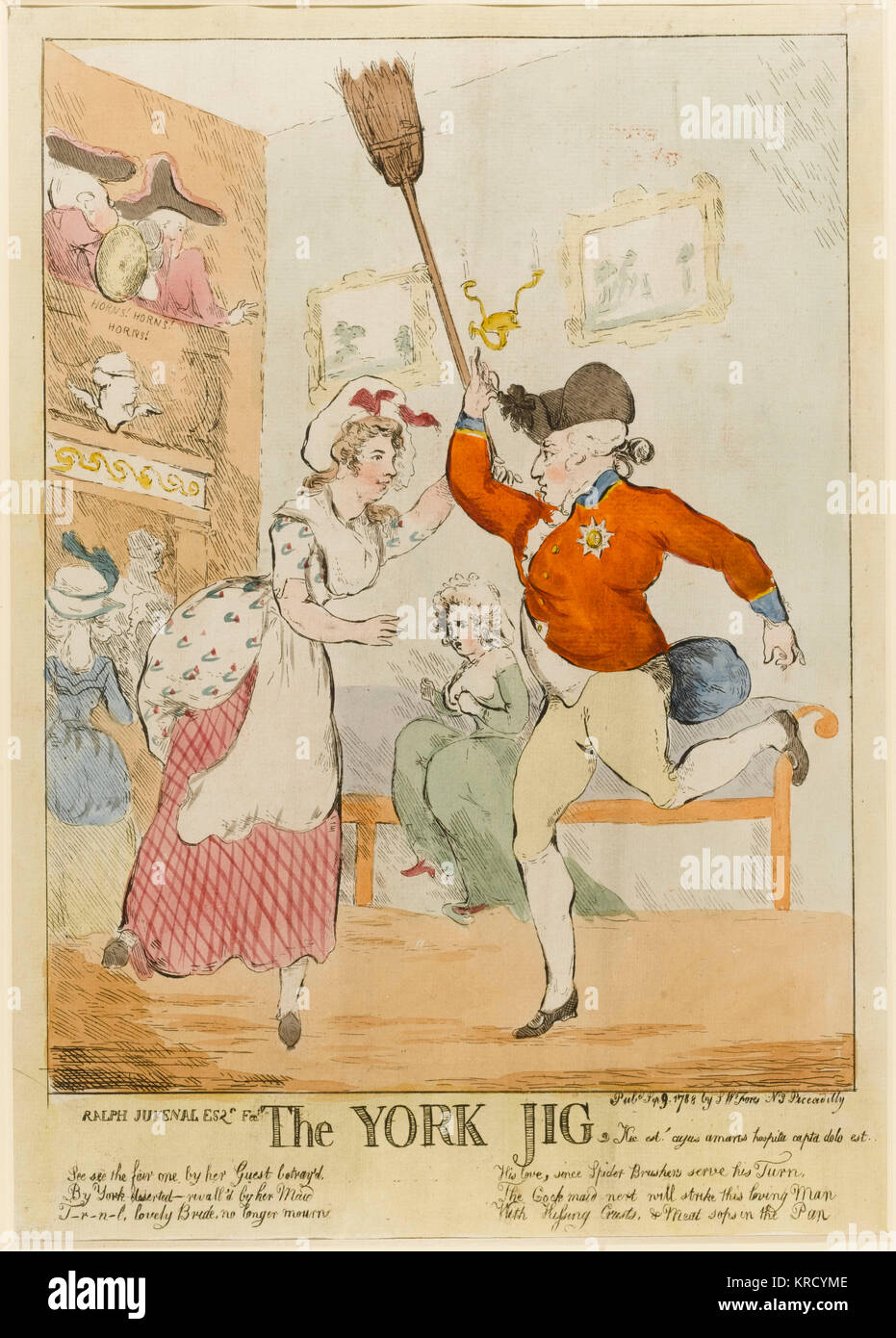 Satirical cartoon, The York Jig.  The Duke of York dances a jig with Lady Tyrconnel's maid.  Lady Tyrconnel, - Stock Image