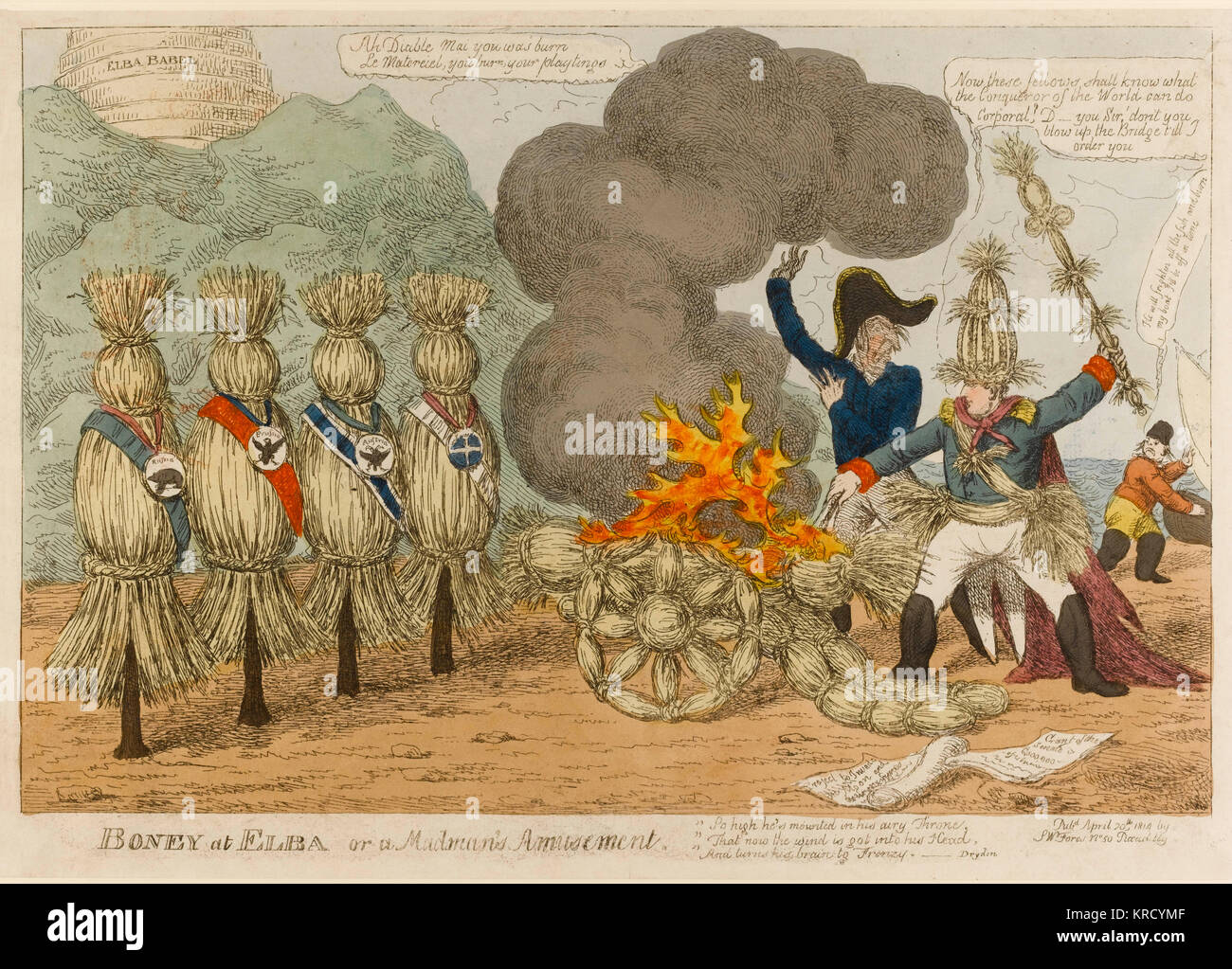 Satirical cartoon, Boney at Elba or a Madman's amusement.  A mad Napoleon banished to Elba plays at being Conqueror - Stock Image