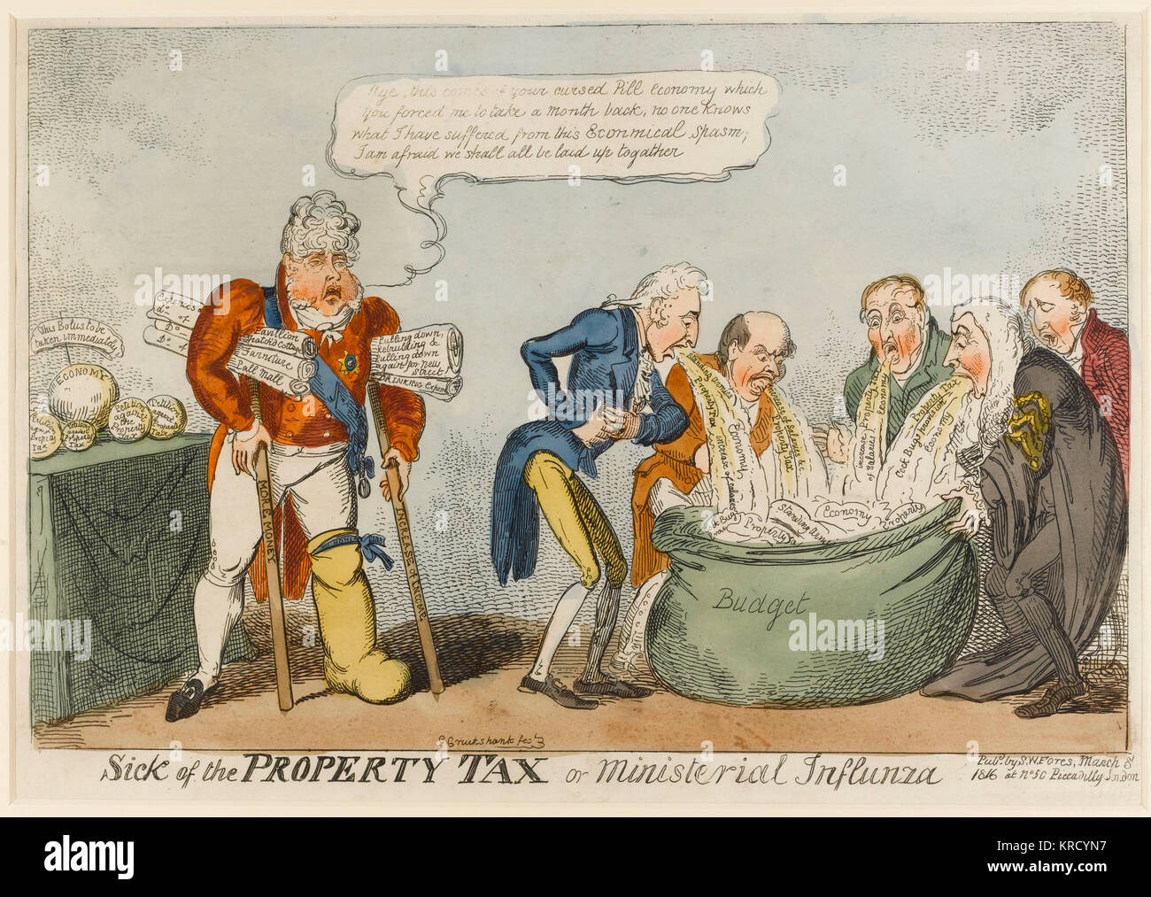 Satirical cartoon, Sick of the Property Tax or ministerial influenza.  A group of ministers, including Vansittart, - Stock Image