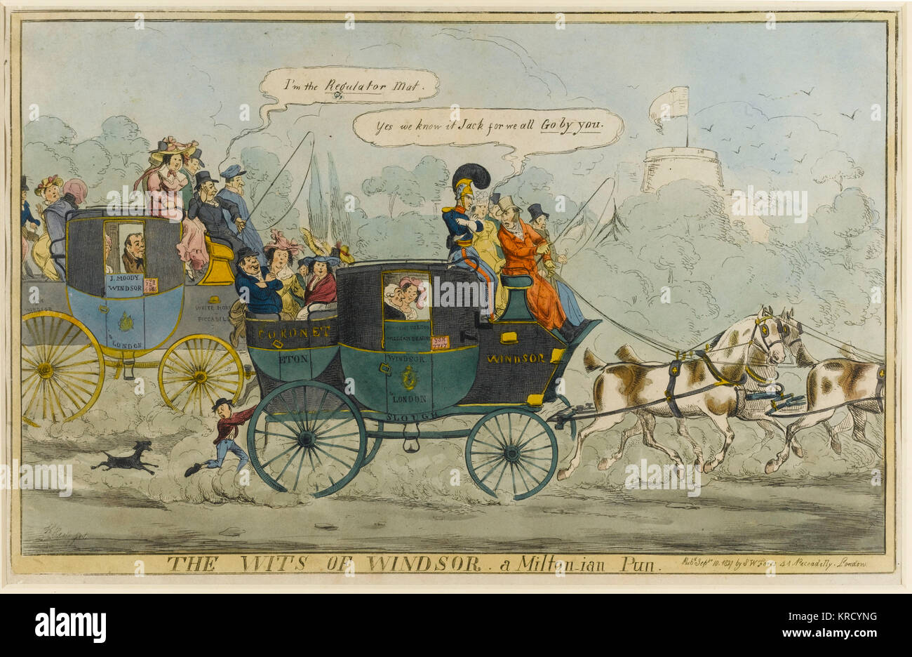 Satirical cartoon, The Wits of Windsor, a Milton-ian Pun.  One coachman boasts that he is the Regulator  the one - Stock Image
