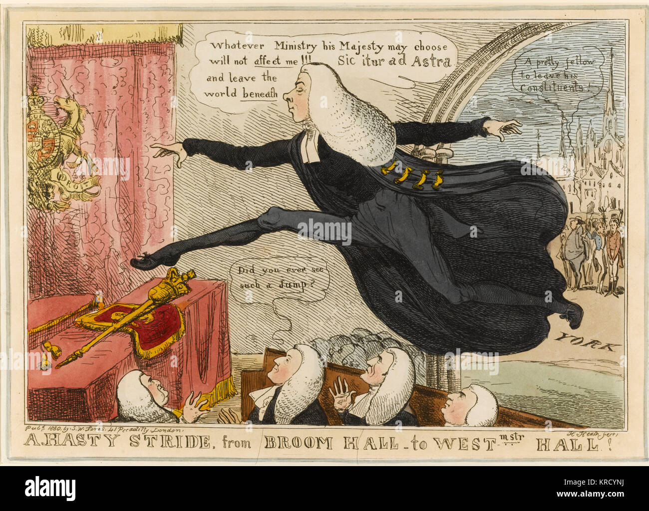 Satirical cartoon, A hasty stride from Broom Hall to Westminster Hall.  A portrait of Henry Brougham in his Lord - Stock Image