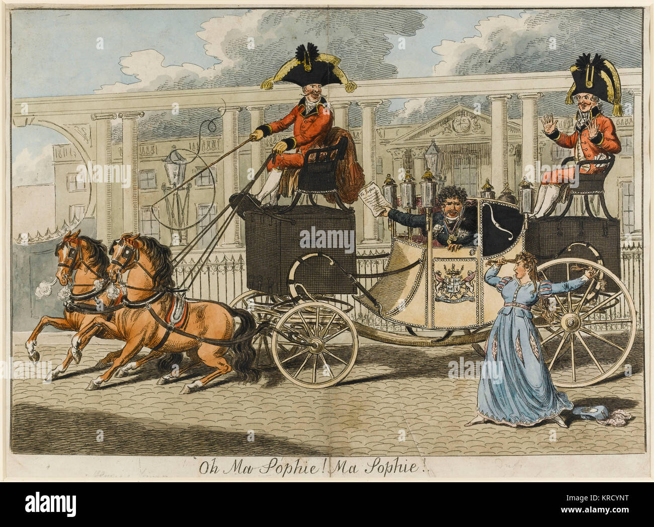 Satirical cartoon, Oh Ma Sophie! Ma Sophie!  The man in the carriage is Baron Geramb, a German whose notorious exploits Stock Photo