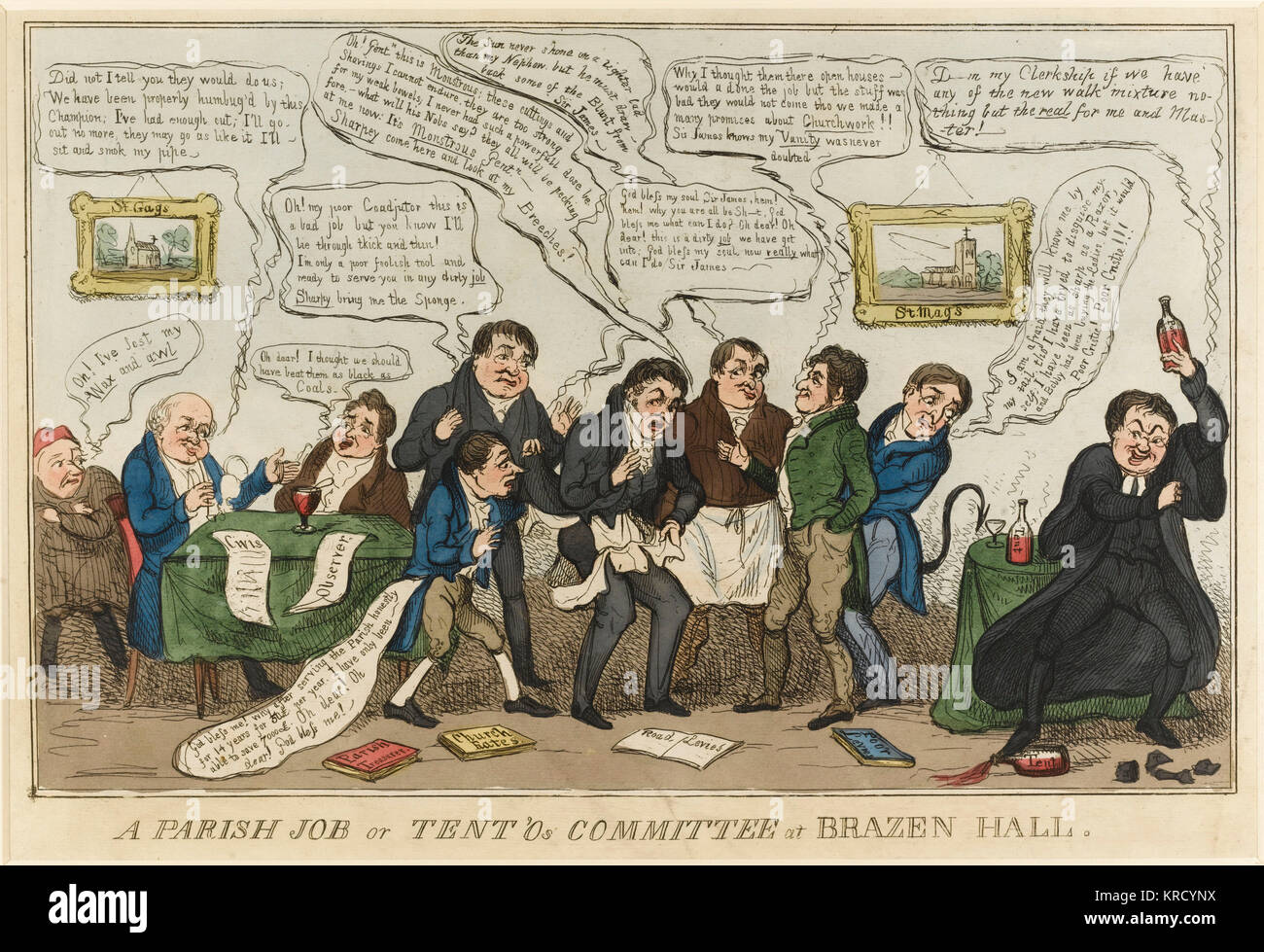 Satirical cartoon, A Parish Job or Tent'Os Committee at Brazen Hall. A somewhat obscure print which shows the - Stock Image