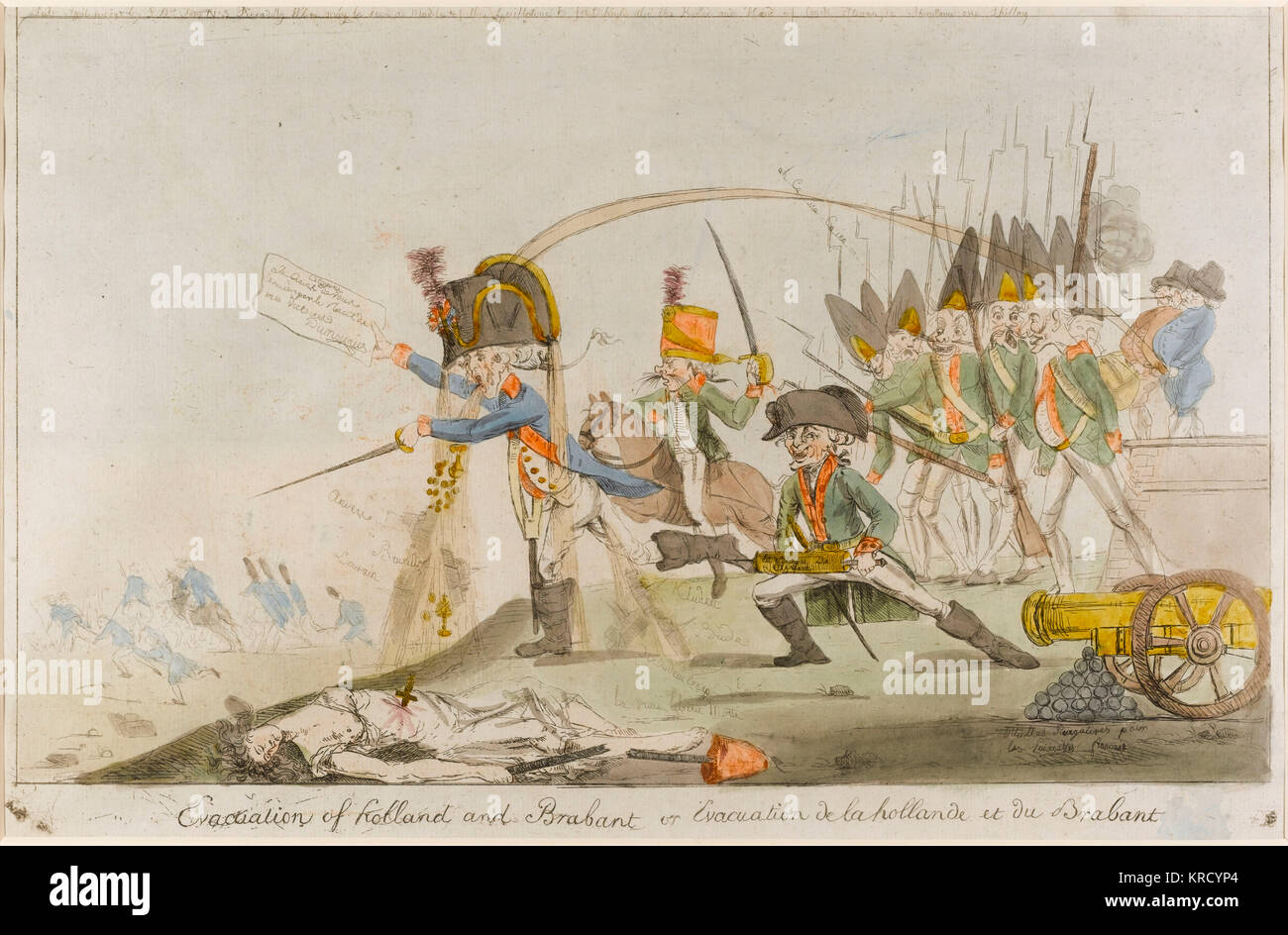 Satirical cartoon, Evacuation of Holland and Brabant.  Showing General Charles-Francois Dumouriez retreating with - Stock Image