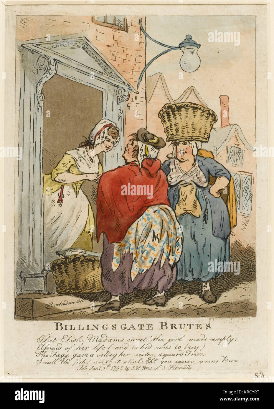 Satirical cartoon, Billingsgate Brutes.  A genre scene, seemingly charming. In reality a young woman at a doorway - Stock Image