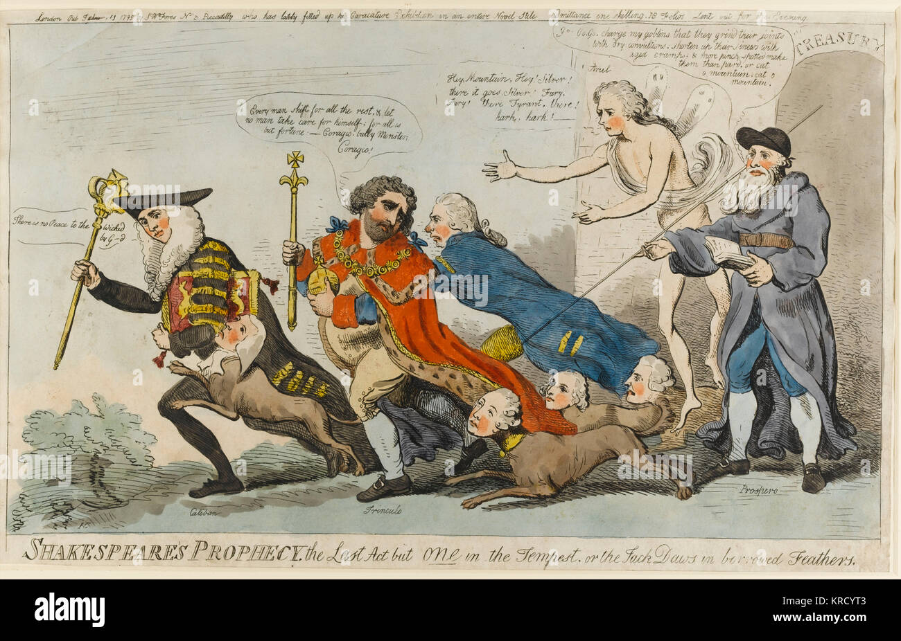 Satirical cartoon, Shakespeare's Prophecy, the Last Act but one in the Tempest, or the Jack Daws in borrowed - Stock Image