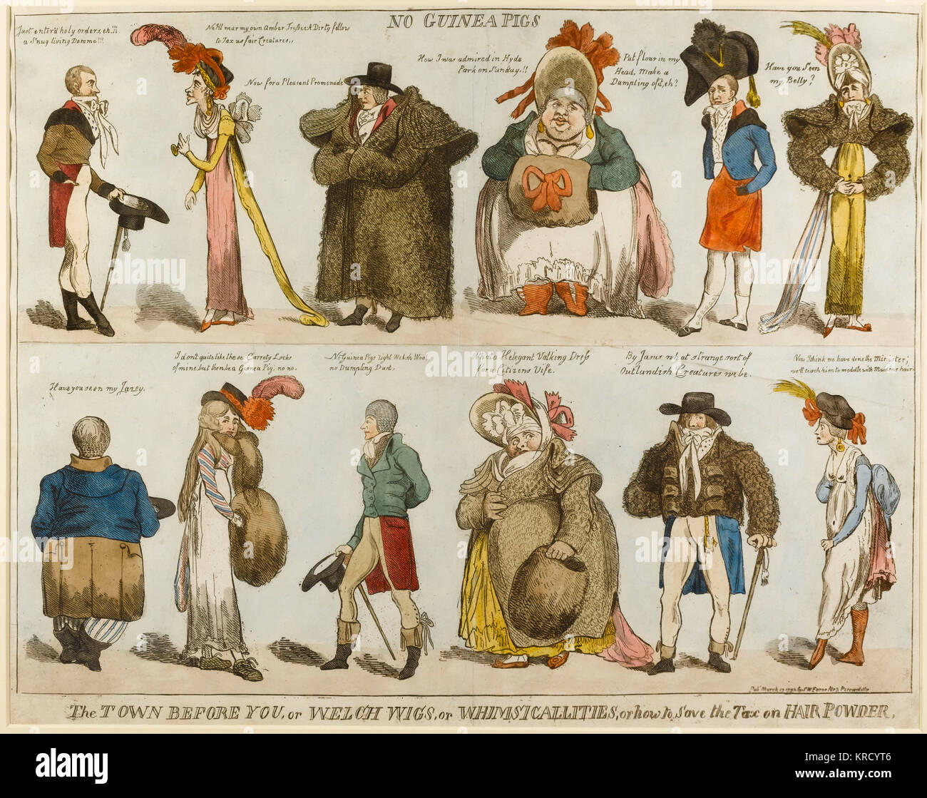 Satirical cartoon, No Guinea Pigs, The Town before you, or Welch Wigs, or whimsicalities, or how to save the tax - Stock Image