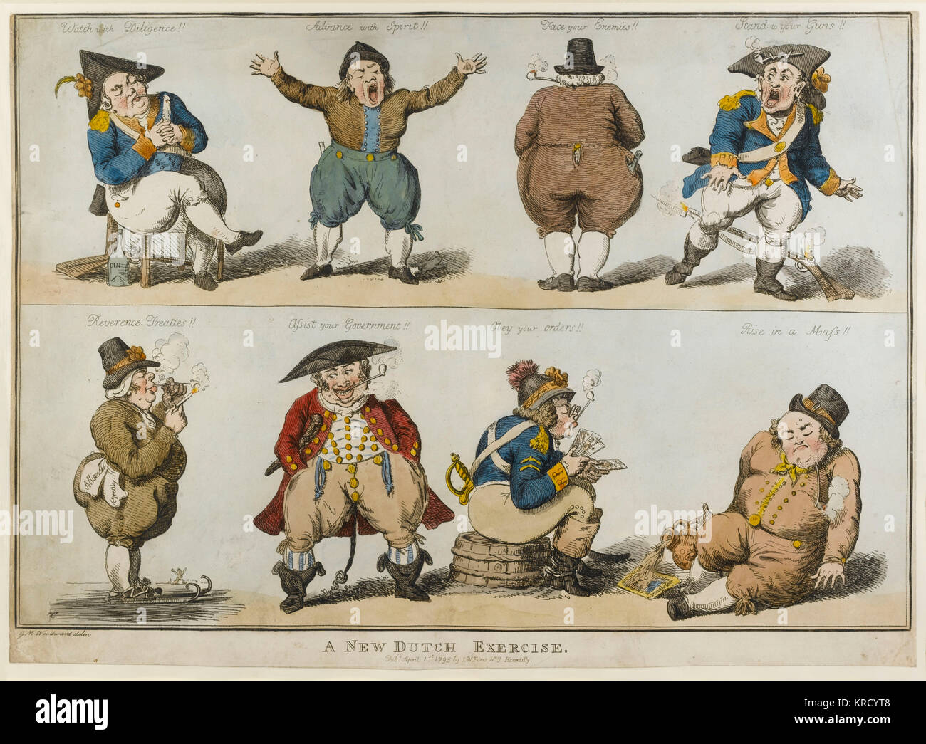Satirical cartoon, A New Dutch Exercise.  Showing eight fat Dutchmen in two rows, attacking the Dutch character - Stock Image