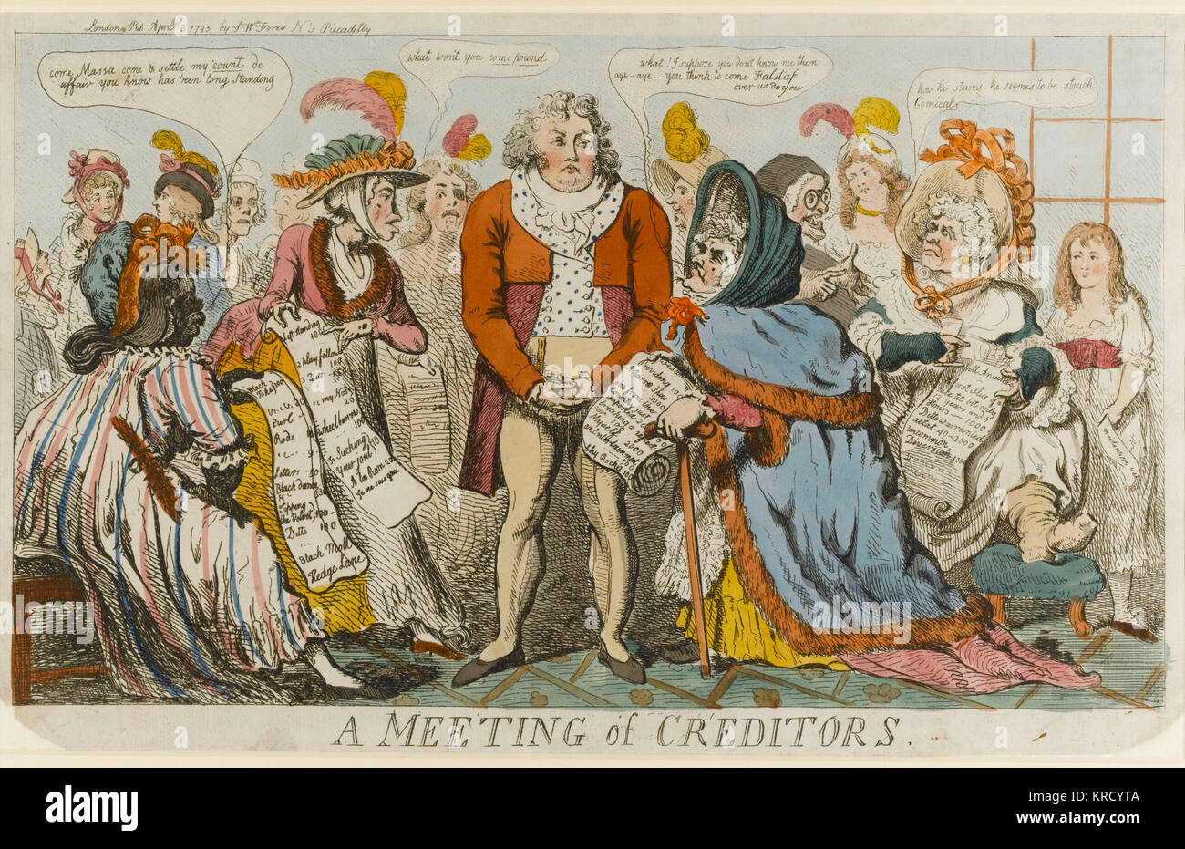 Satirical cartoon, A Meeting of Creditors.  The Prince of Wales is surrounded by 'clamouring bawds and courtesans' - Stock Image