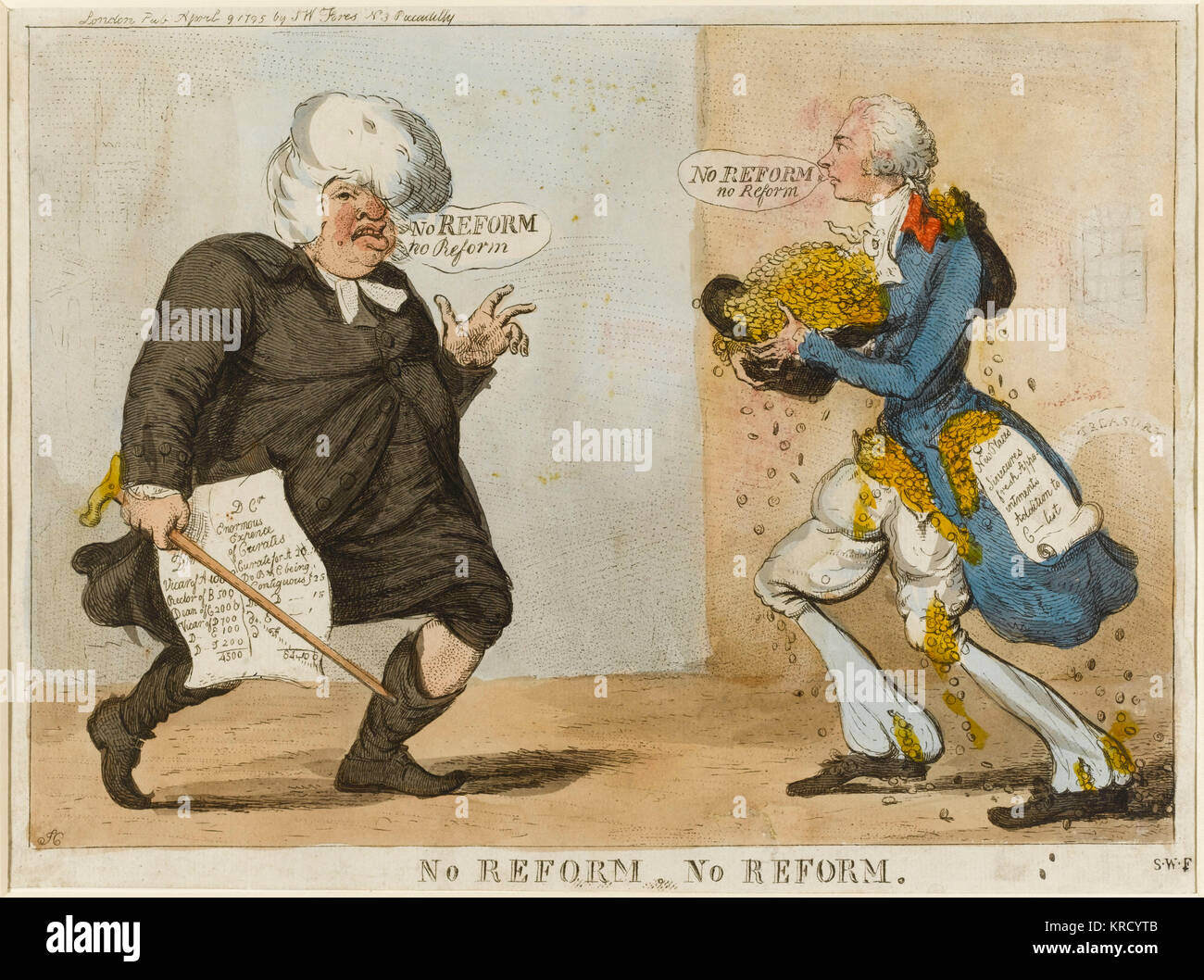 Satirical cartoon, No Reform No Reform.  A fat parson is portrayed the worse for wear with drink, his wig worn back - Stock Image