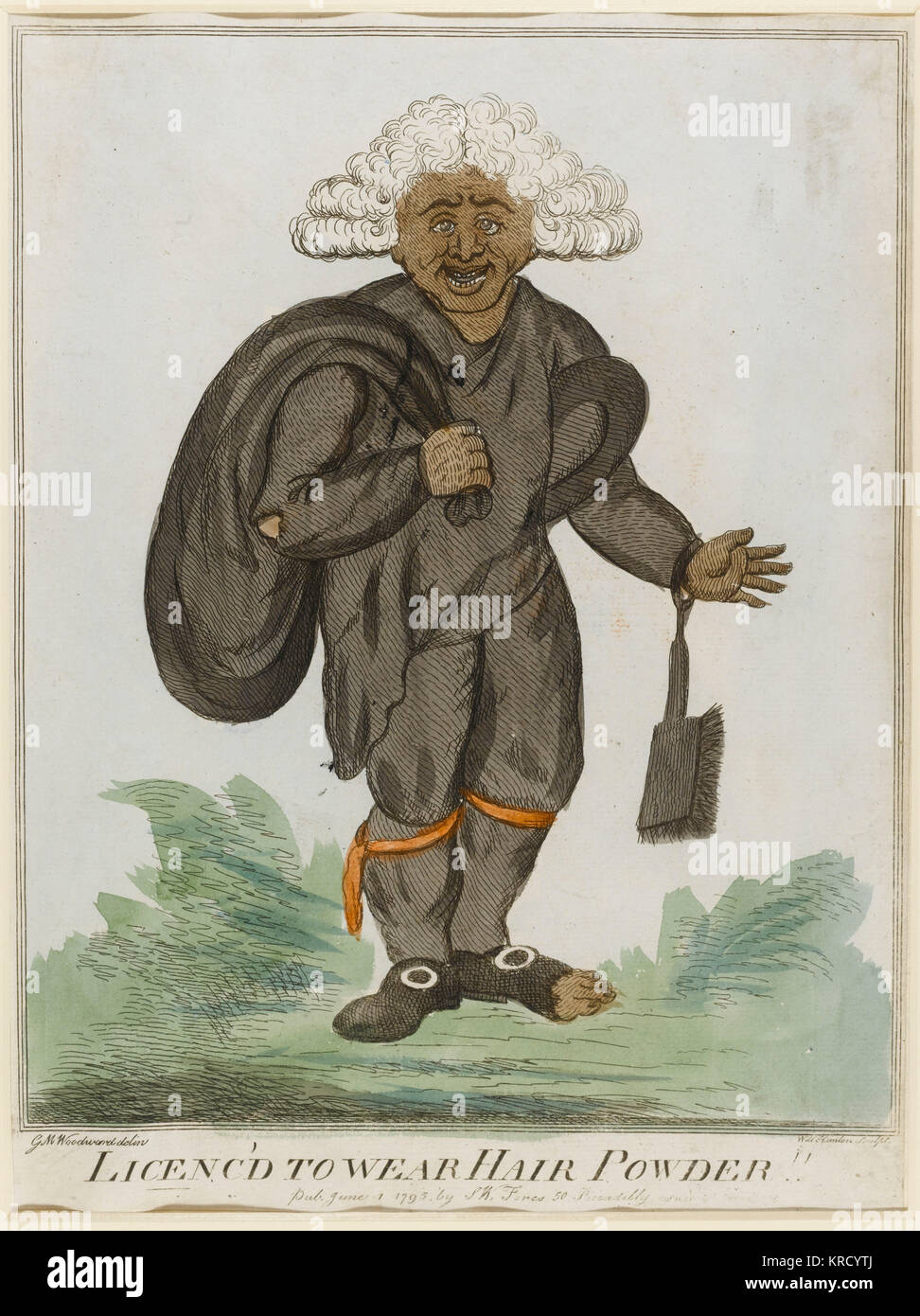 Satirical cartoon, Licenc'd to wear hair powder. A pair to the print 'Licenc'd to wear the breeches'; published Stock Photo