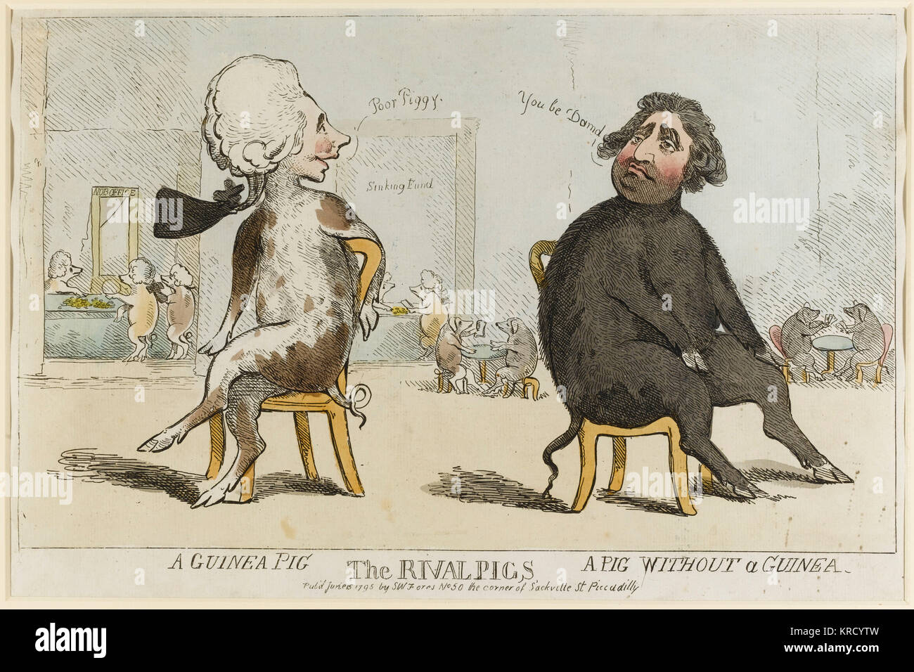 Satirical cartoon, The Rival Pigs.  People who paid a guinea for a licence to wear hair powder under Pitts hair - Stock Image