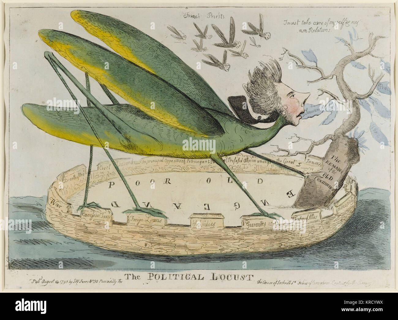 Satirical cartoon, The Political Locust. A caricature of the politician, William Pitt, as a locust devouring the - Stock Image