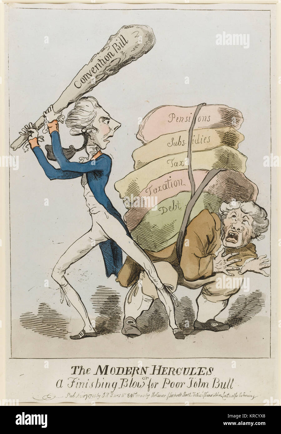 Satirical cartoon, The Modern Hercules, or A Finishing Blow for Poor John Bull.  A caricature of William Pitt as - Stock Image
