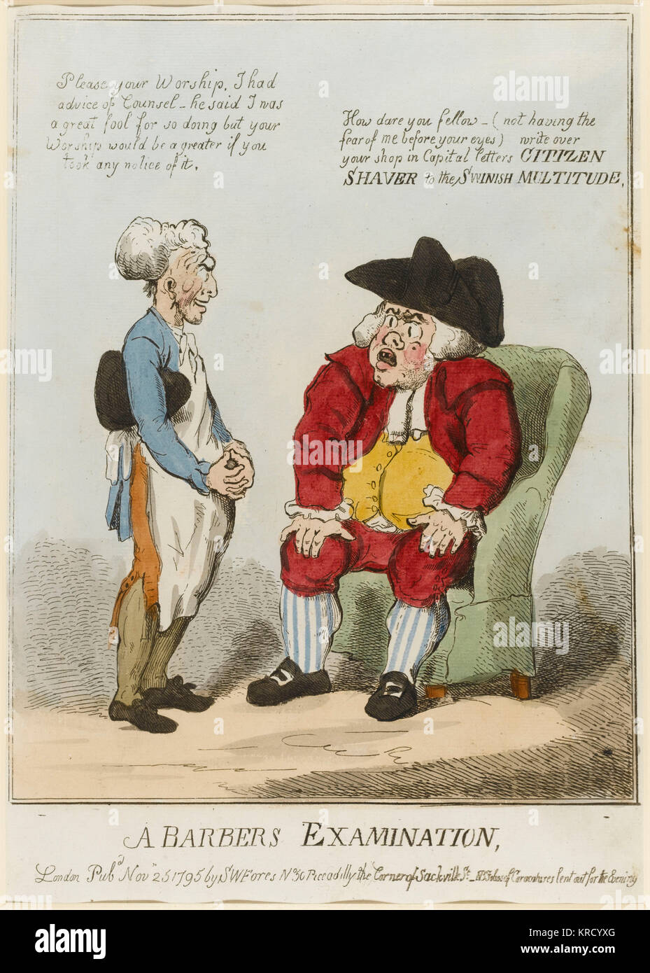 Satirical cartoon, A Barbers Examination.  An encounter between a barber and a justice of the peace.  The justice, - Stock Image