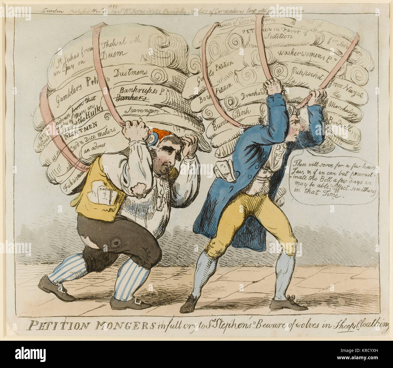 Satirical cartoon, Petition Mongers in full cry to St Stephens!! Beware of wolves in sheeps cloathing.  Sheridan - Stock Image