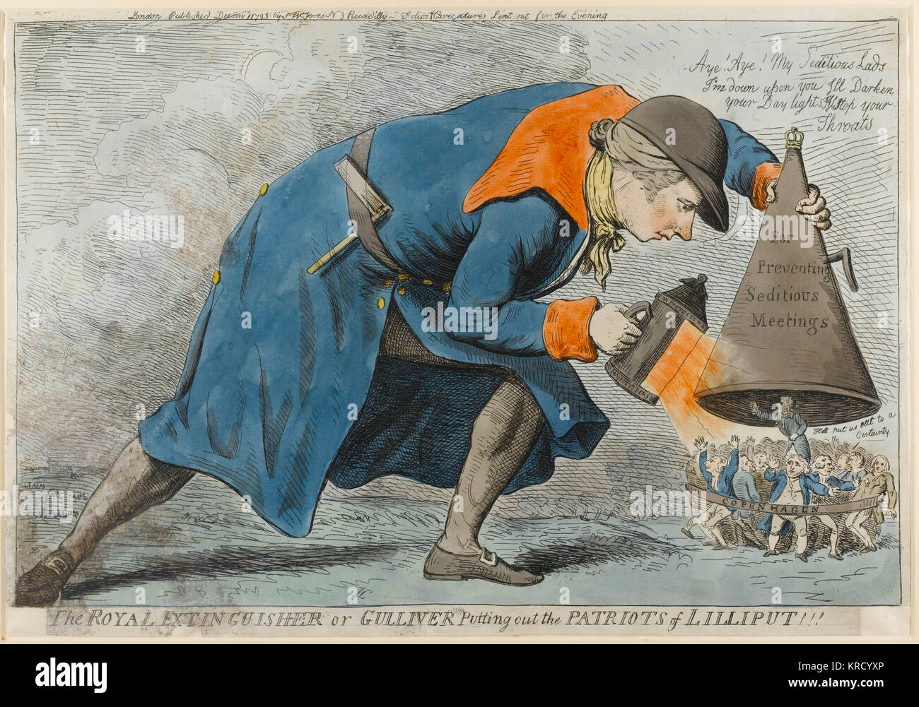 Satirical cartoon, The Royal Extinguisher or Gulliver Putting out the Patriots of Lilliput !!!  One of many satires - Stock Image