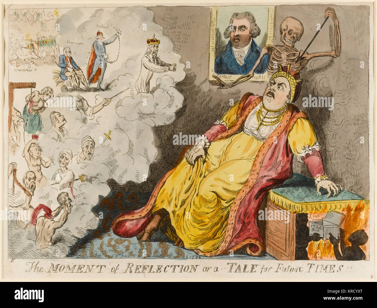 Satirical cartoon, The Moment of Reflection or a tale for future Times.  Catherine II of Russia died on 17 November - Stock Image