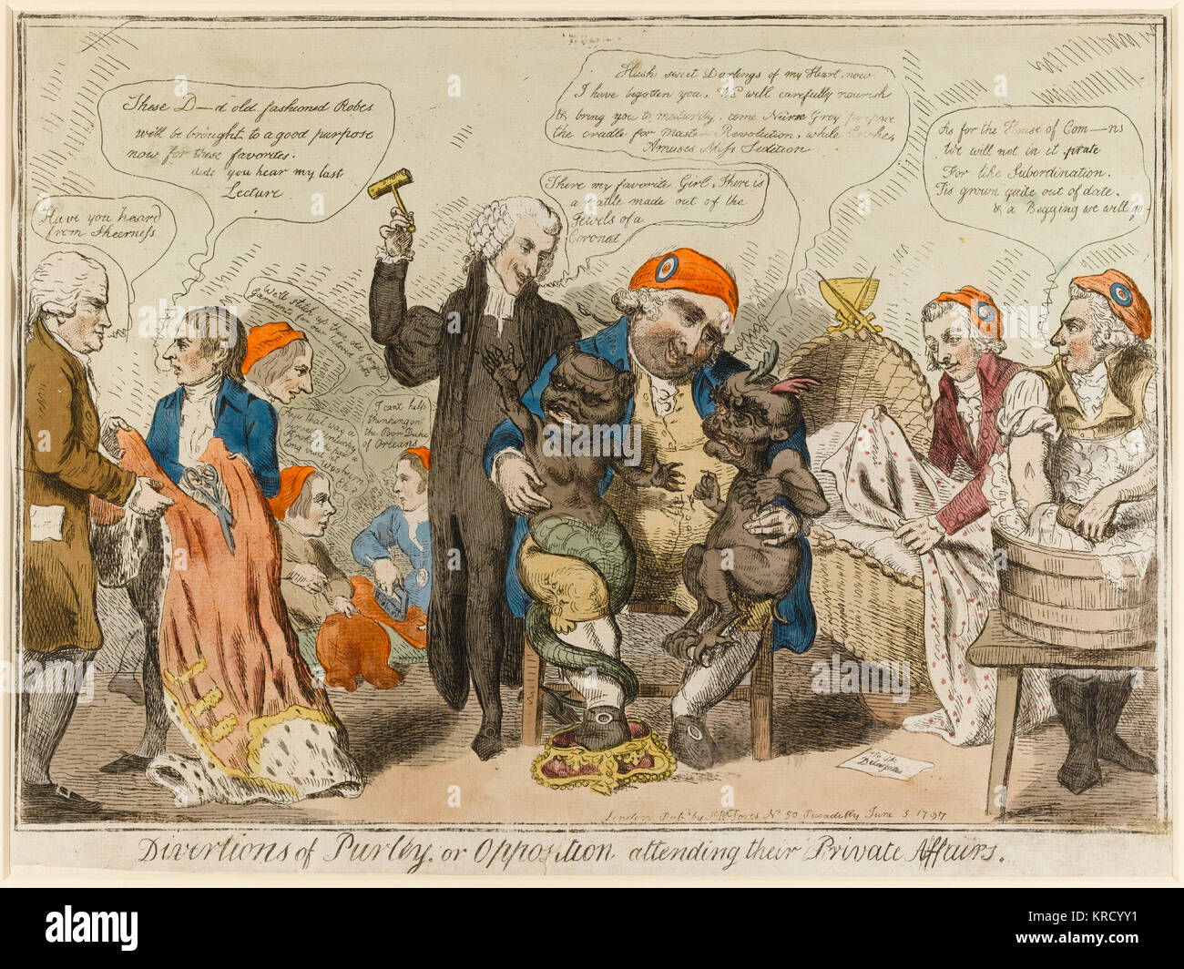 Satirical cartoon, Divertions [Diversions] of Purley, or Opposition attending their private affairs.  An inverted - Stock Image