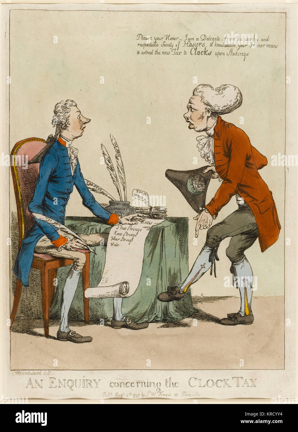 Satirical cartoon, An Enquiry Concerning the Clock Tax. A 'delegate' (a loaded word) of the 'Society - Stock Image