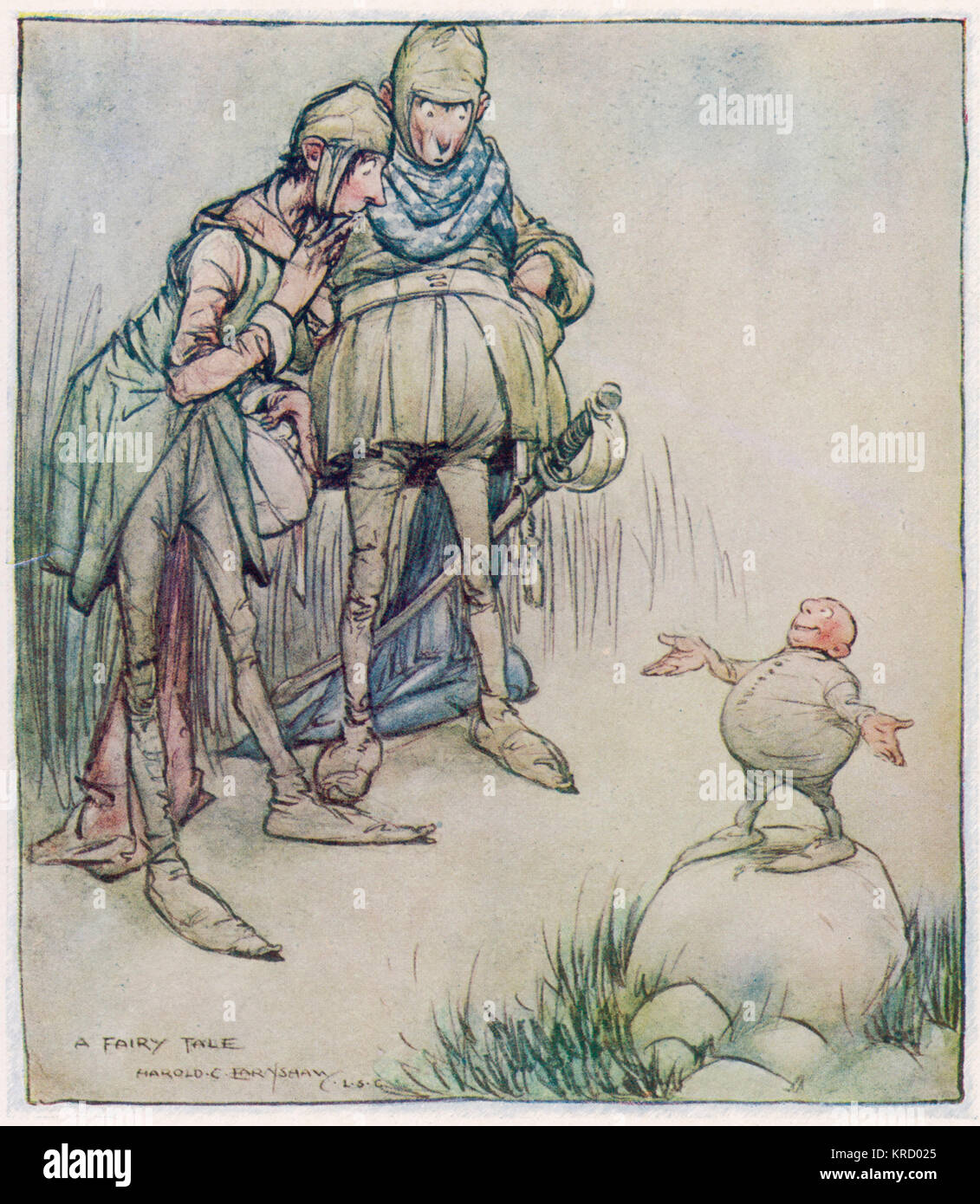 A strange little man appears  as if by magic to the surprise  of two medieval types, who  look rather strange  themselves. - Stock Image