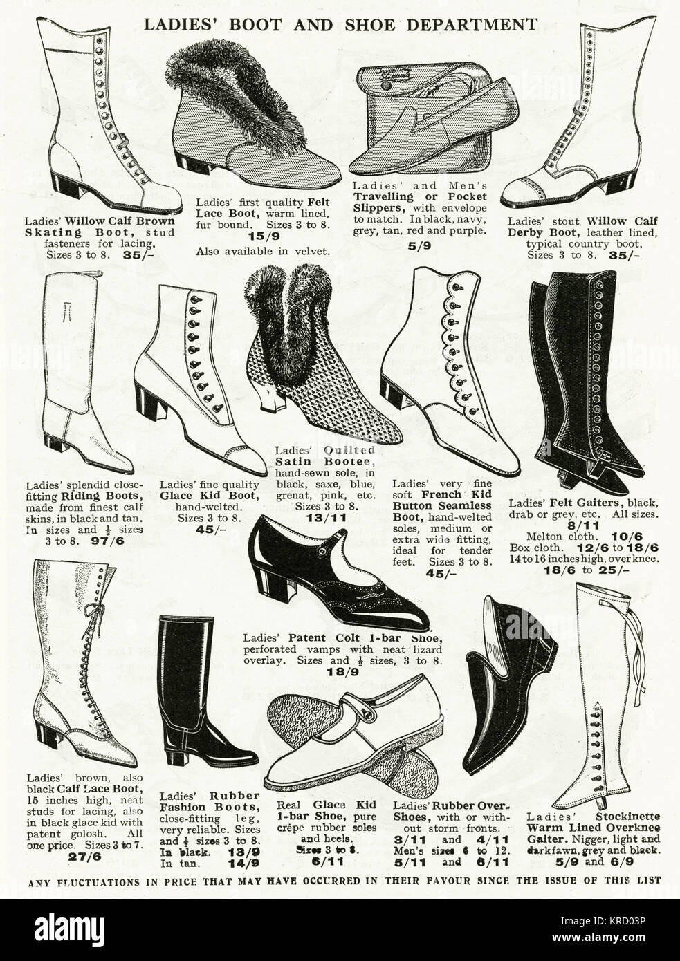 Ladies 1920s boots in willow calf, felt lace, riding, quilted, buttoned, lace-up and rubber.      Date: circa 1926 - Stock Image