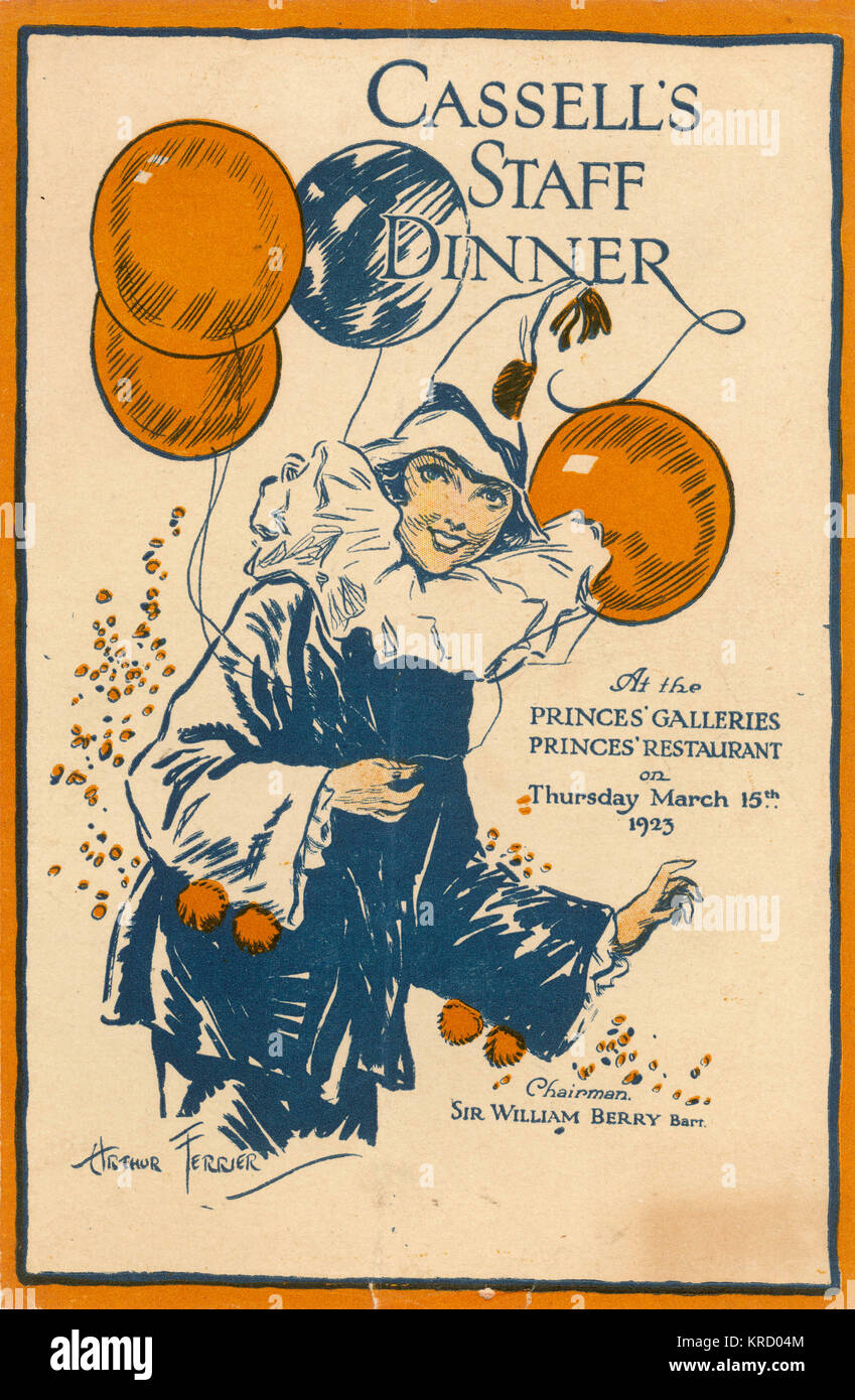 Menu for the staff dinner of  the publisher Cassell's held  on 15 March 1923.        Date: 1923 - Stock Image