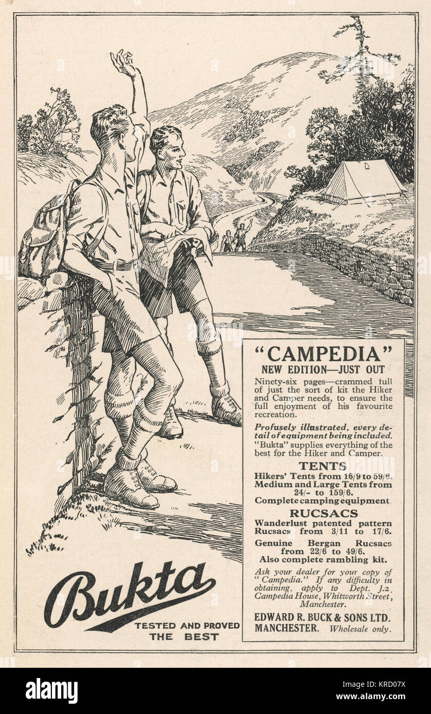 Advertisement for Bukta's  rucsacs - the new edition  Campedia - just out!        Date: May 1931 - Stock Image