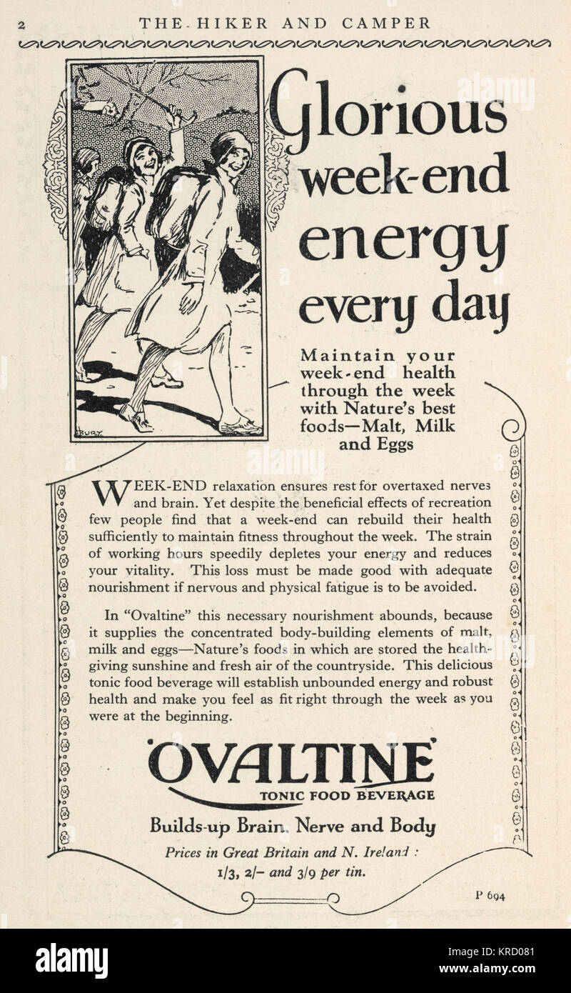 Advertisement for Ovaltine  which 'builds up brain, nerve  and body'.        Date: March 1931 - Stock Image