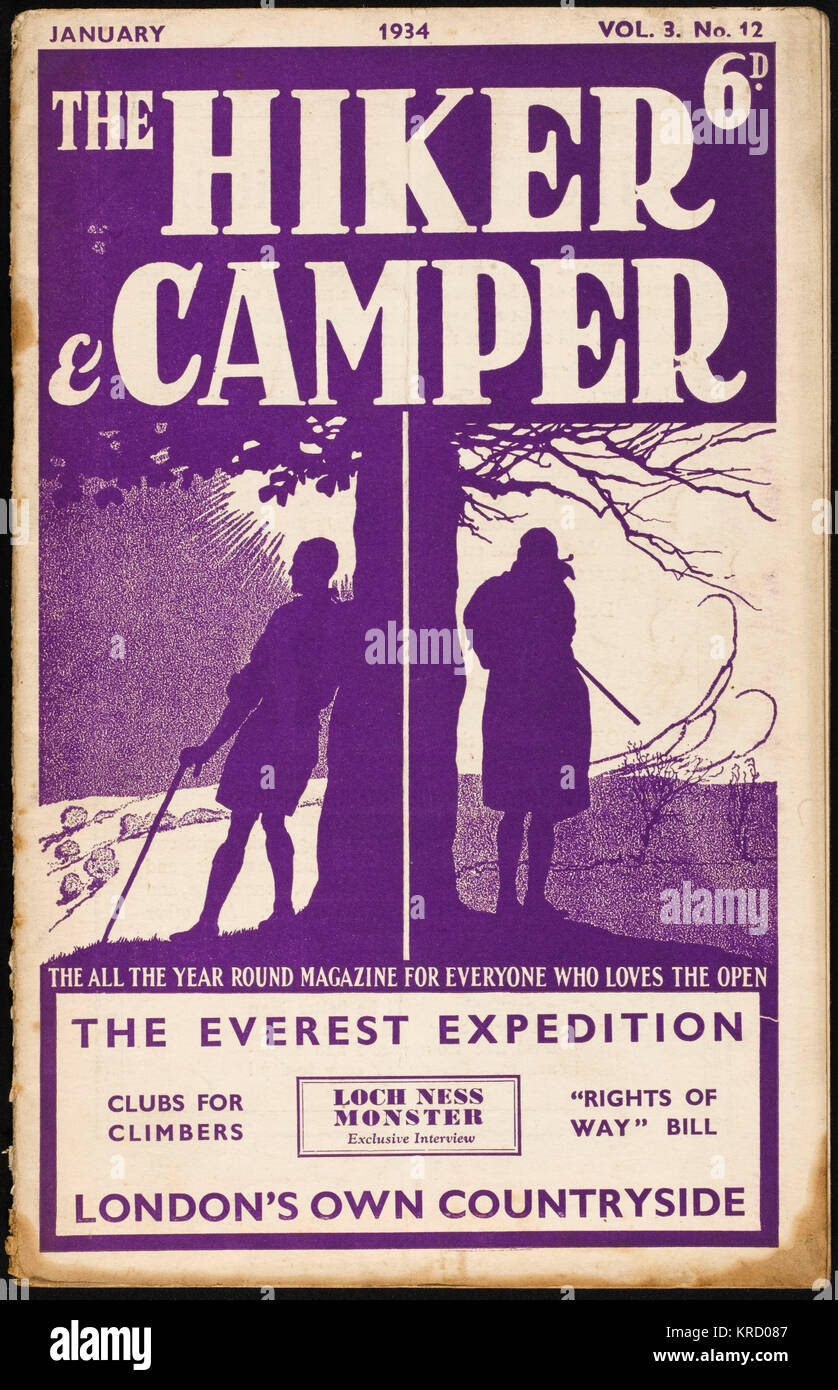 Front cover - purple version -  of The Hiker & Camper  magazine, devoted to one of  the most popular leisure - Stock Image