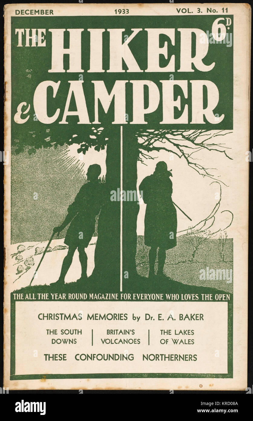 Front cover of Hiker and Camper  magazine, devoted to one of  the most popular pastimes of  the 1930s.  Two hikers - Stock Image