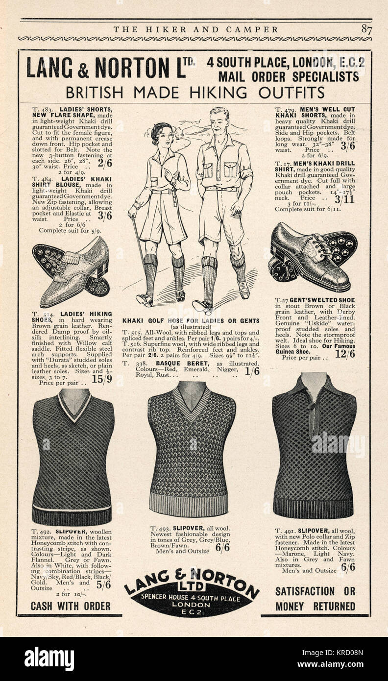 Advert for Lang & Norton,  specialists in British made  hiking outfits, including  sensible walking shoes, - Stock Image
