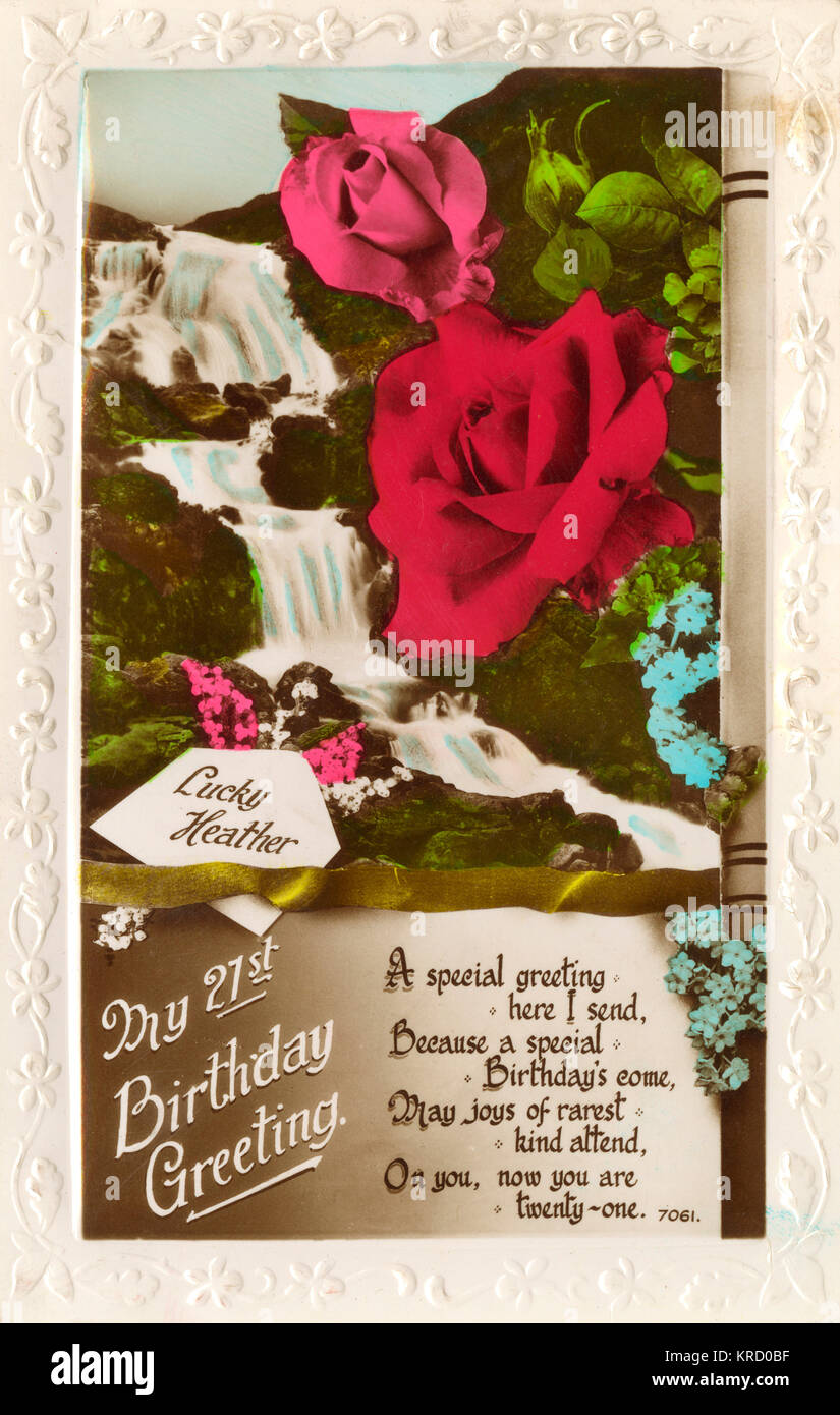 A 21st birthday card showing a waterfall, pink and red roses, lucky heather and forget-me-nots.       Date: 1936 - Stock Image