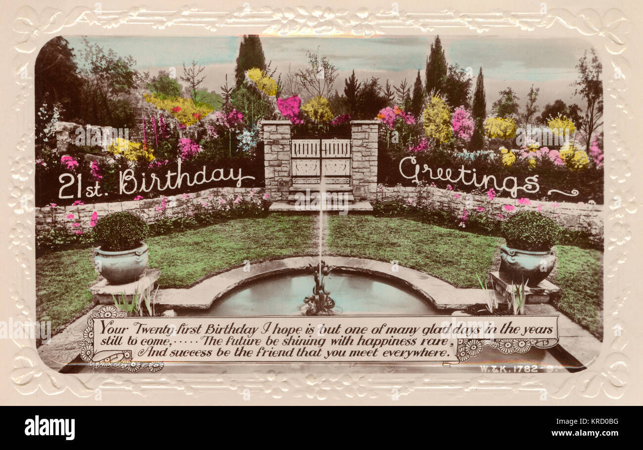 A 21st birthday card showing a beautiful garden with a fountain at  the centre.      Date: 1936 - Stock Image