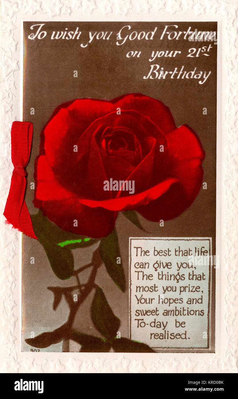 A 21st birthday card with a single red rose, and a matching red ribbon at the side.        Date: 1936 - Stock Image