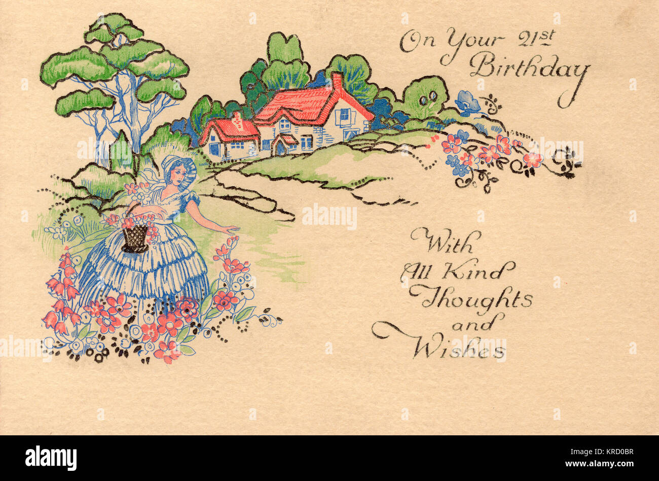 A 21st birthday card, showing a lady in a bonnet and crinoline dress gathering flowers in an idyllic cottage garden. - Stock Image