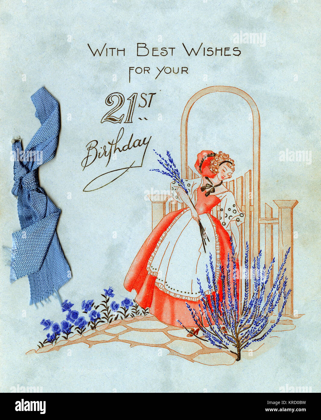 A 21st birthday card, showing a lady gathering lavender in her pretty blue garden.       Date: 1936 - Stock Image