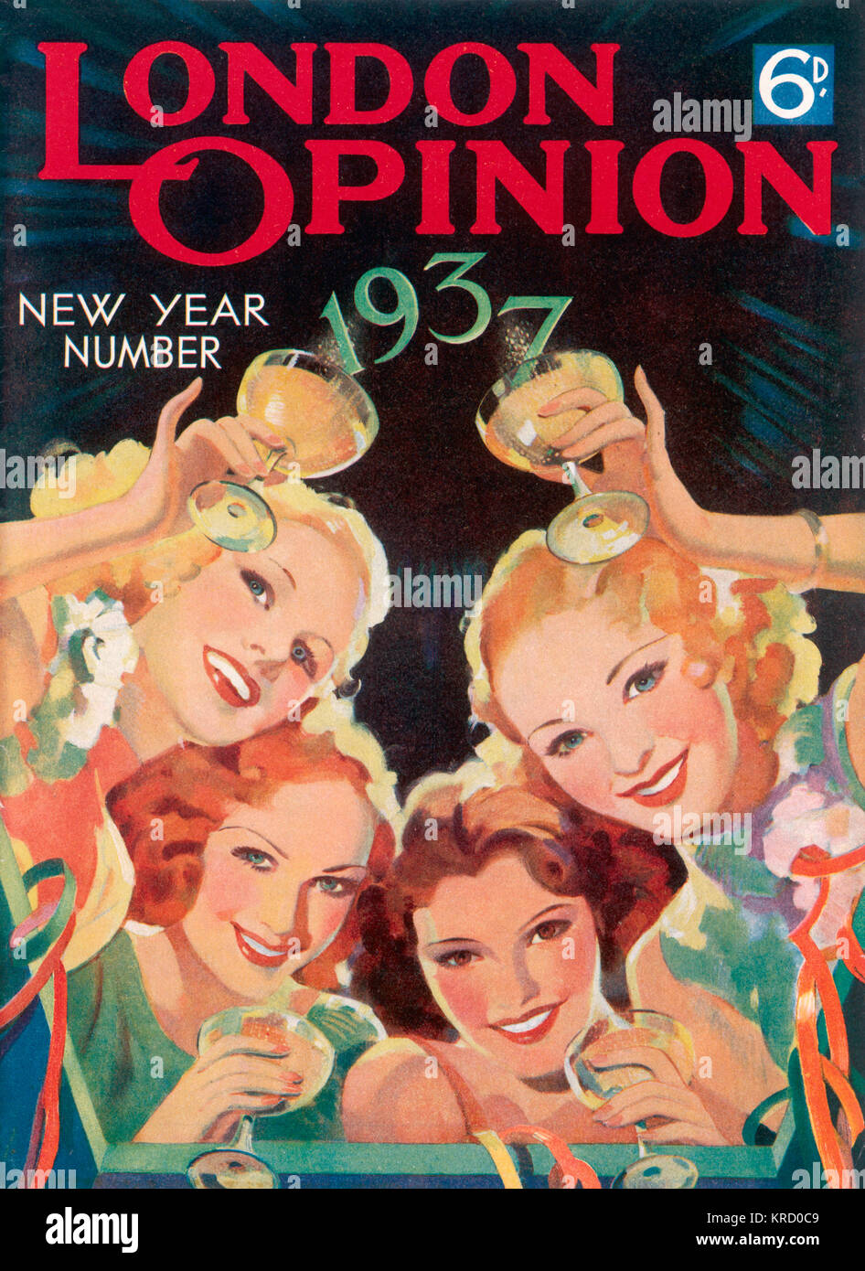 Four glamorous ladies raise  their glasses to toast the New  Year in 1937.        Date: 1937 - Stock Image