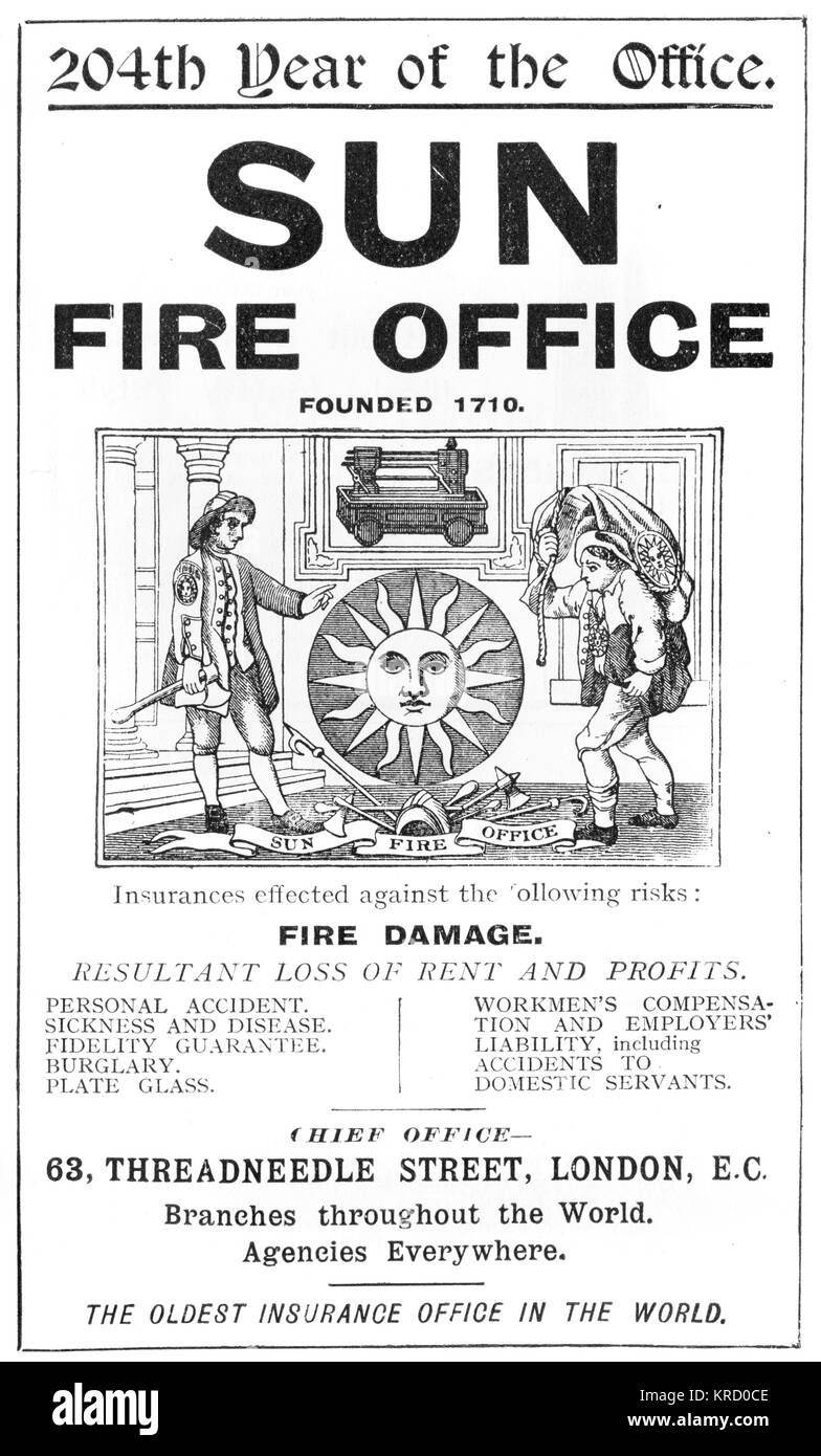An advertisement for the Sun Fire Office, Threadneedle Street,  London, offering insurance against fire damage and - Stock Image