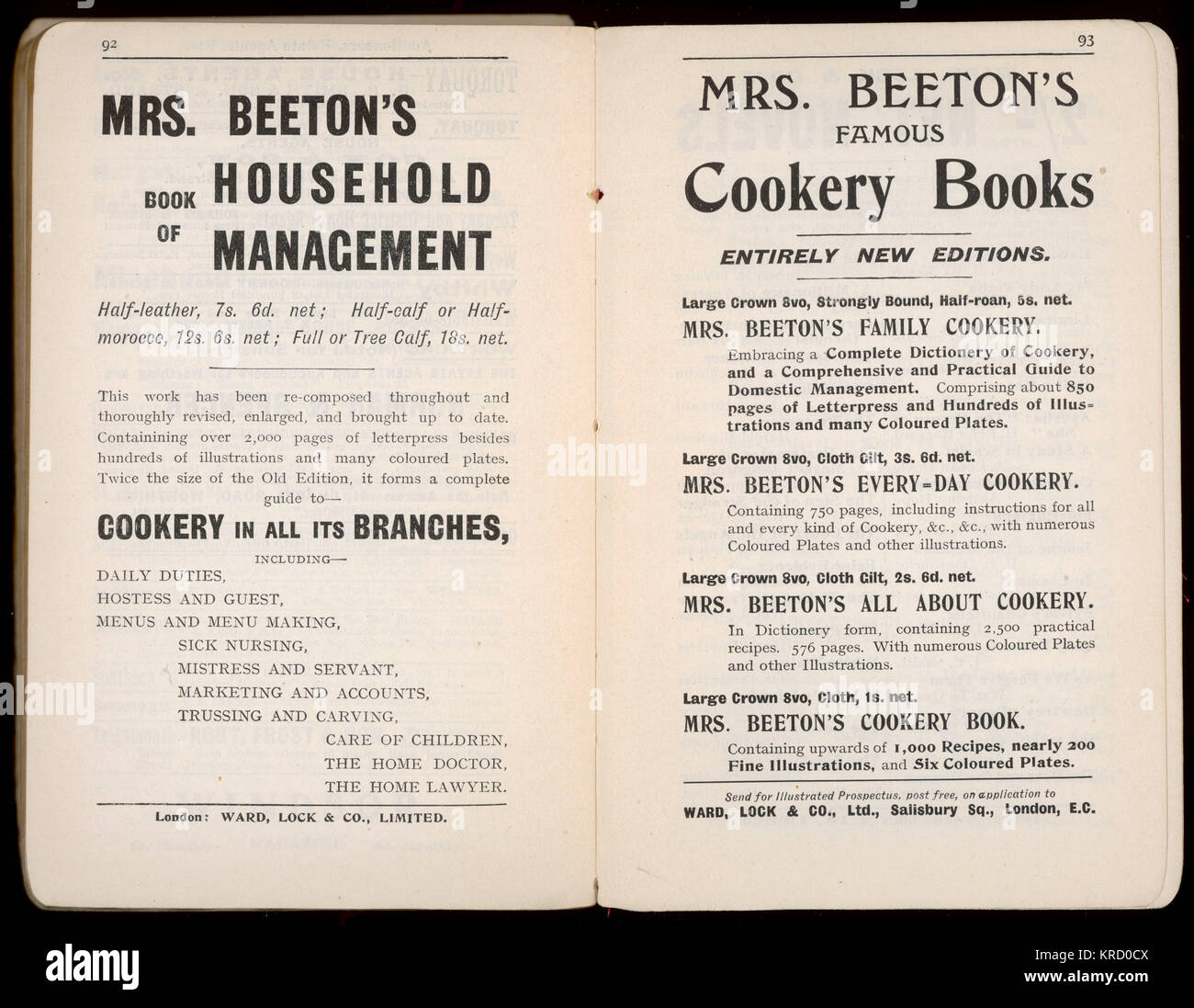 Two pages of advertisements for Mrs Beeton's Book of  Household Management and other Cookery Books, still going - Stock Image